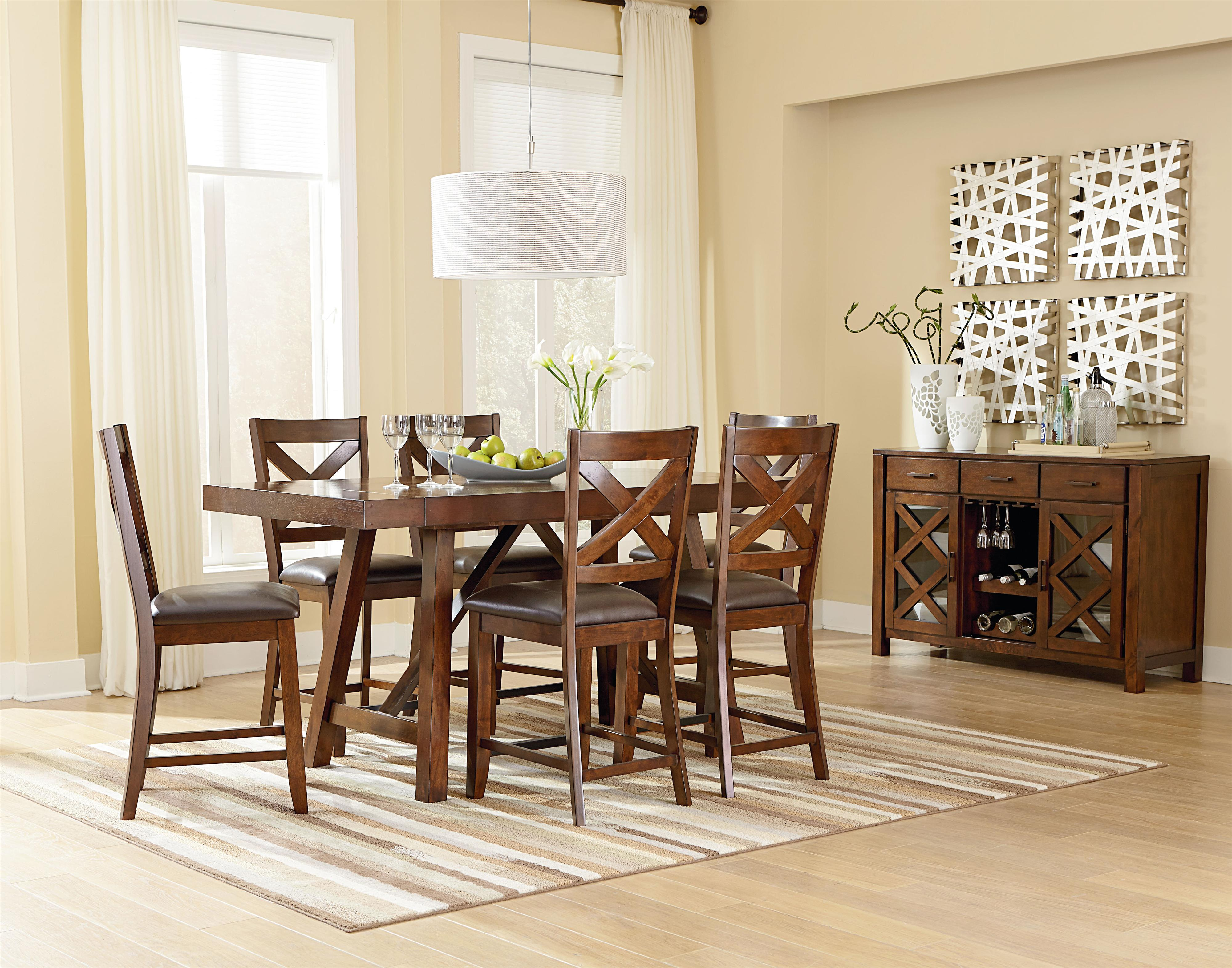 Standard Furniture Omaha Brown Counter Height 7 Piece Table Set With Bar Stools Olinde 39 S