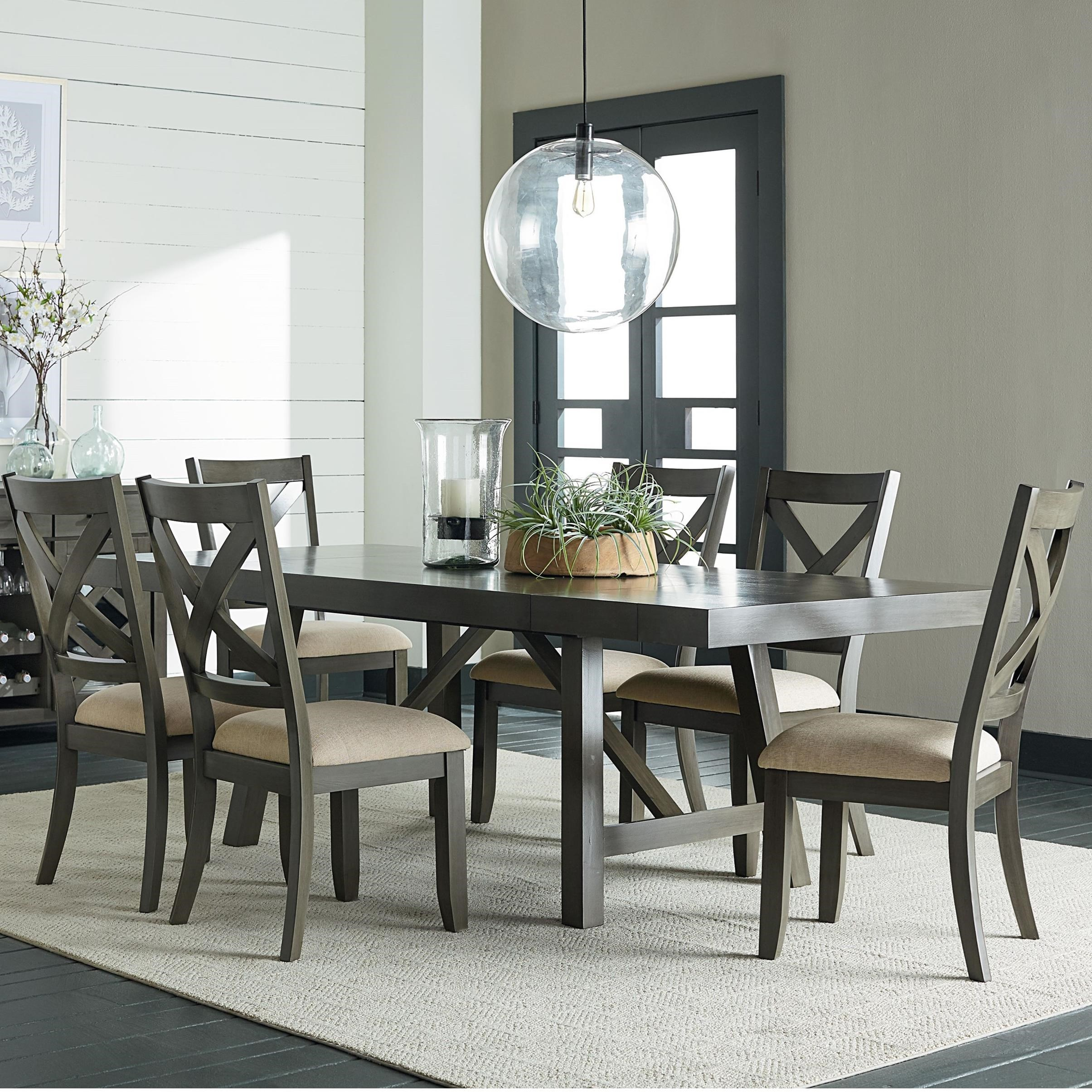 Standard furniture omaha grey 7 piece trestle table dining for Trestle dining room sets