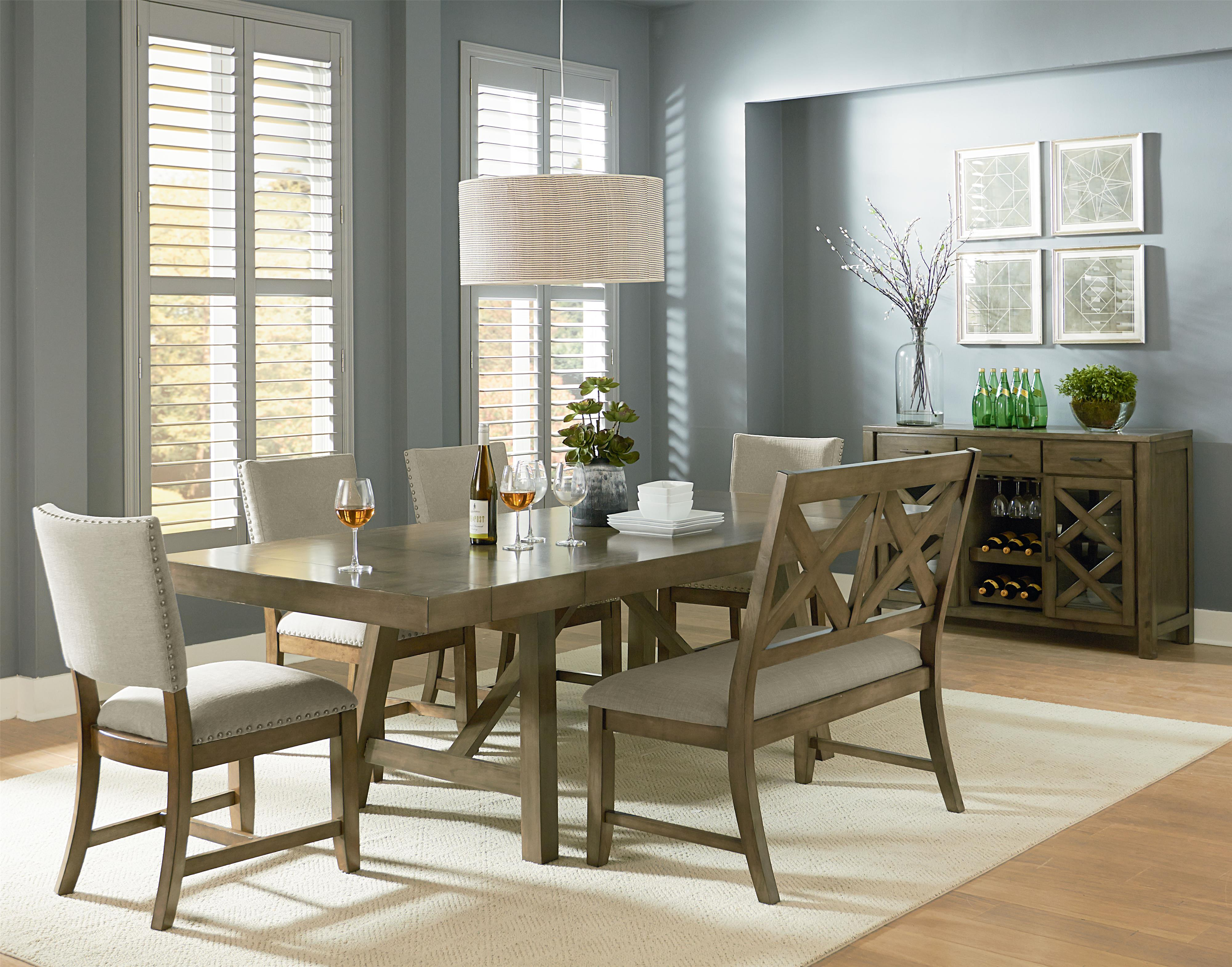 Omaha grey 6 piece trestle table dining set with dining for Dining room tables american furniture warehouse