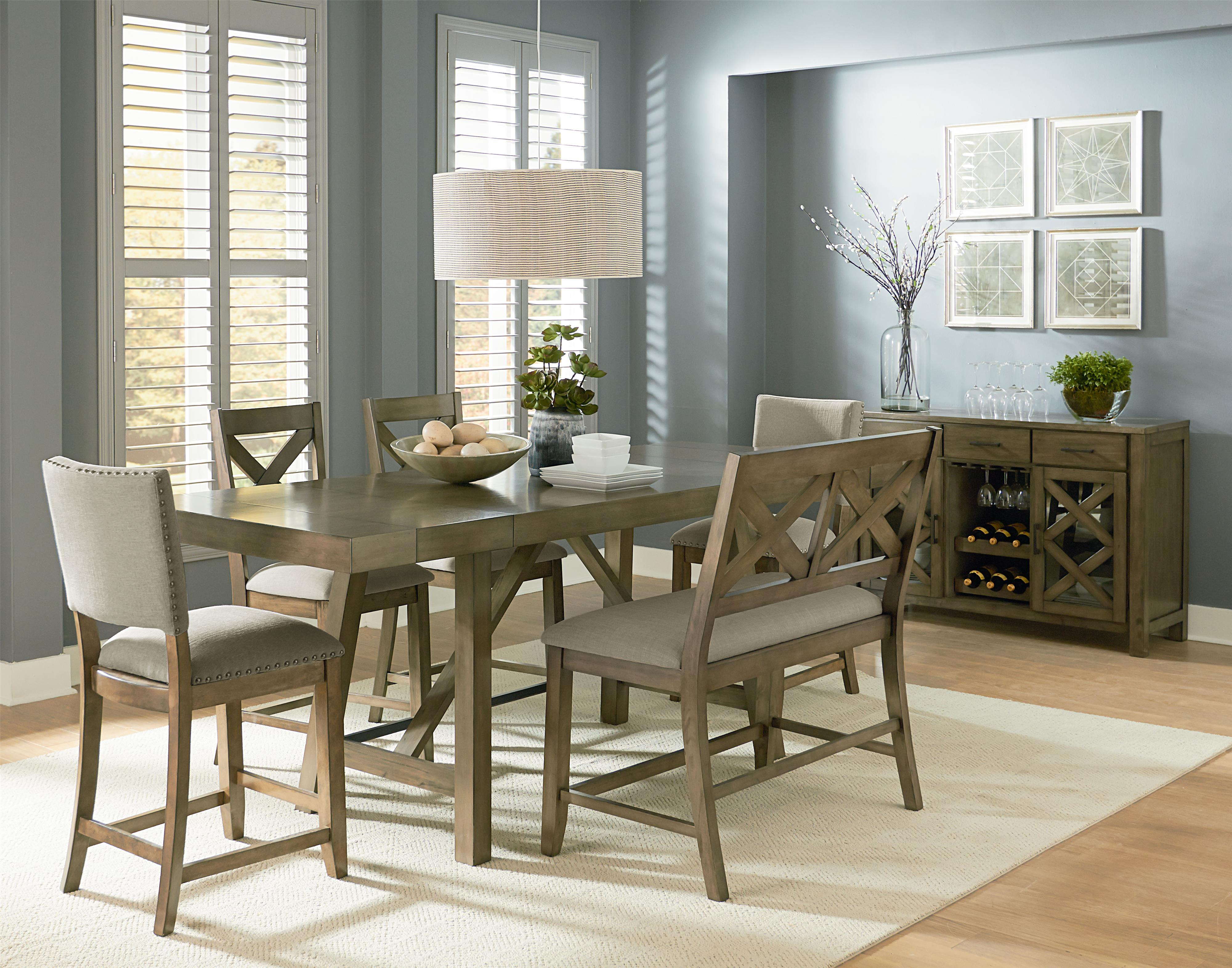 Standard furniture omaha grey 6 piece counter height for Counter height dining table set