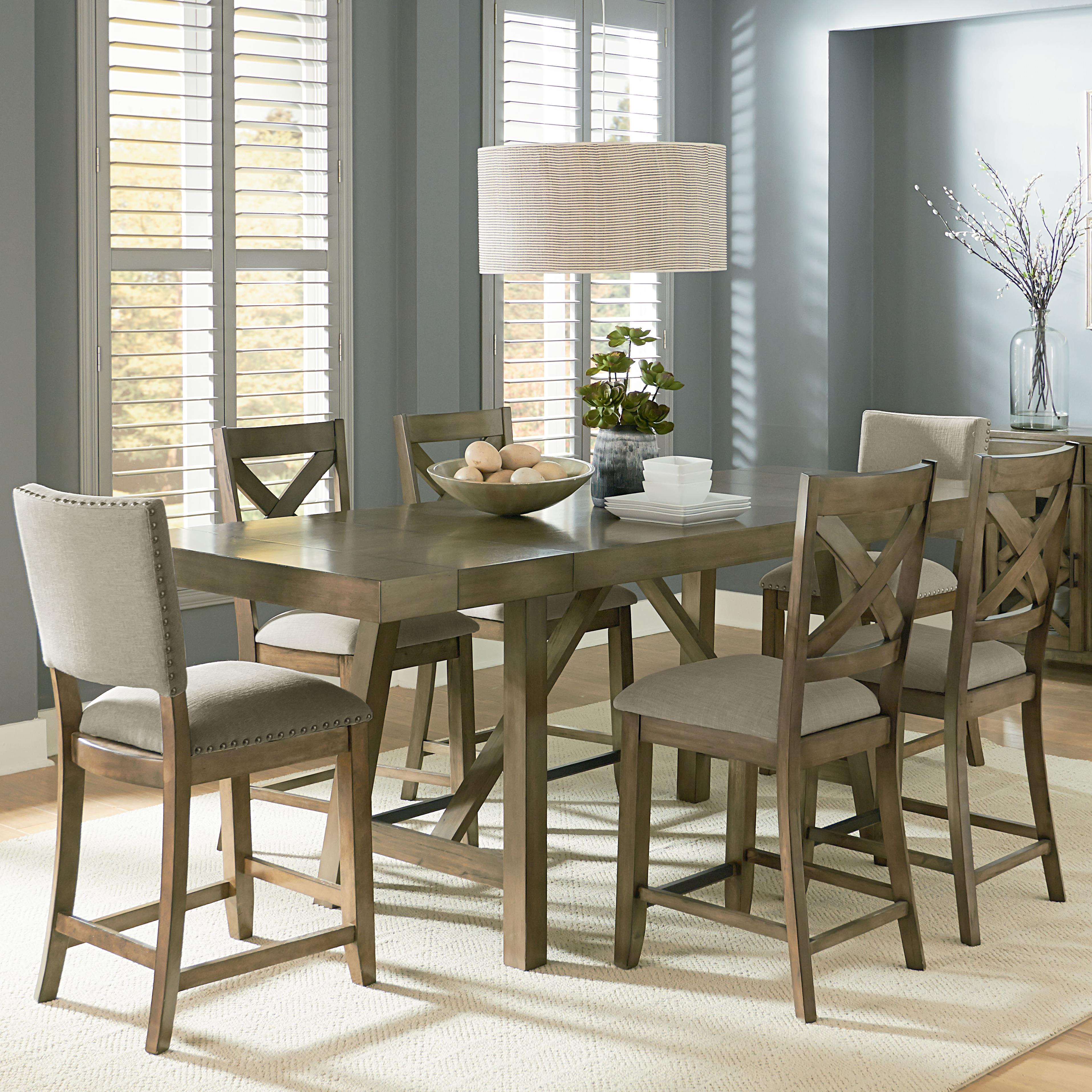 Standard furniture omaha grey counter height 7 piece for Standard dining table