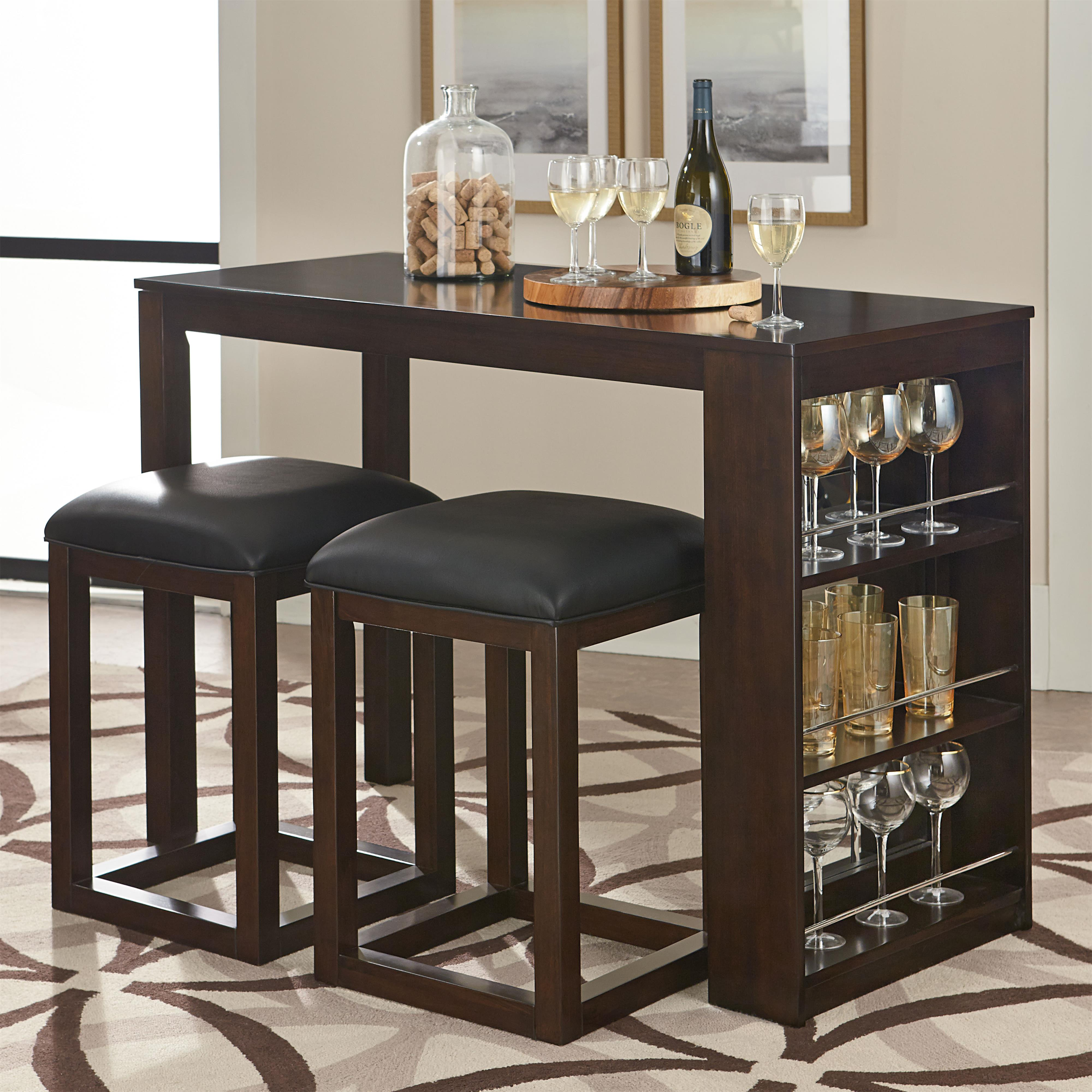 Standard Furniture PORTER 3 Piece Pub Table And Stool Set With Storage Olin