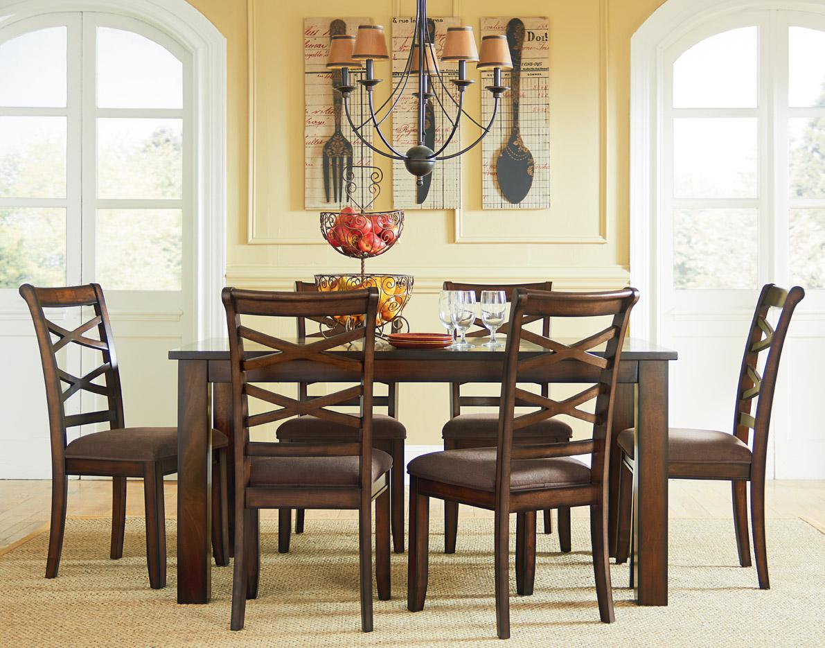 Standard furniture redondo casual transitional 7 piece for Informal dining room sets
