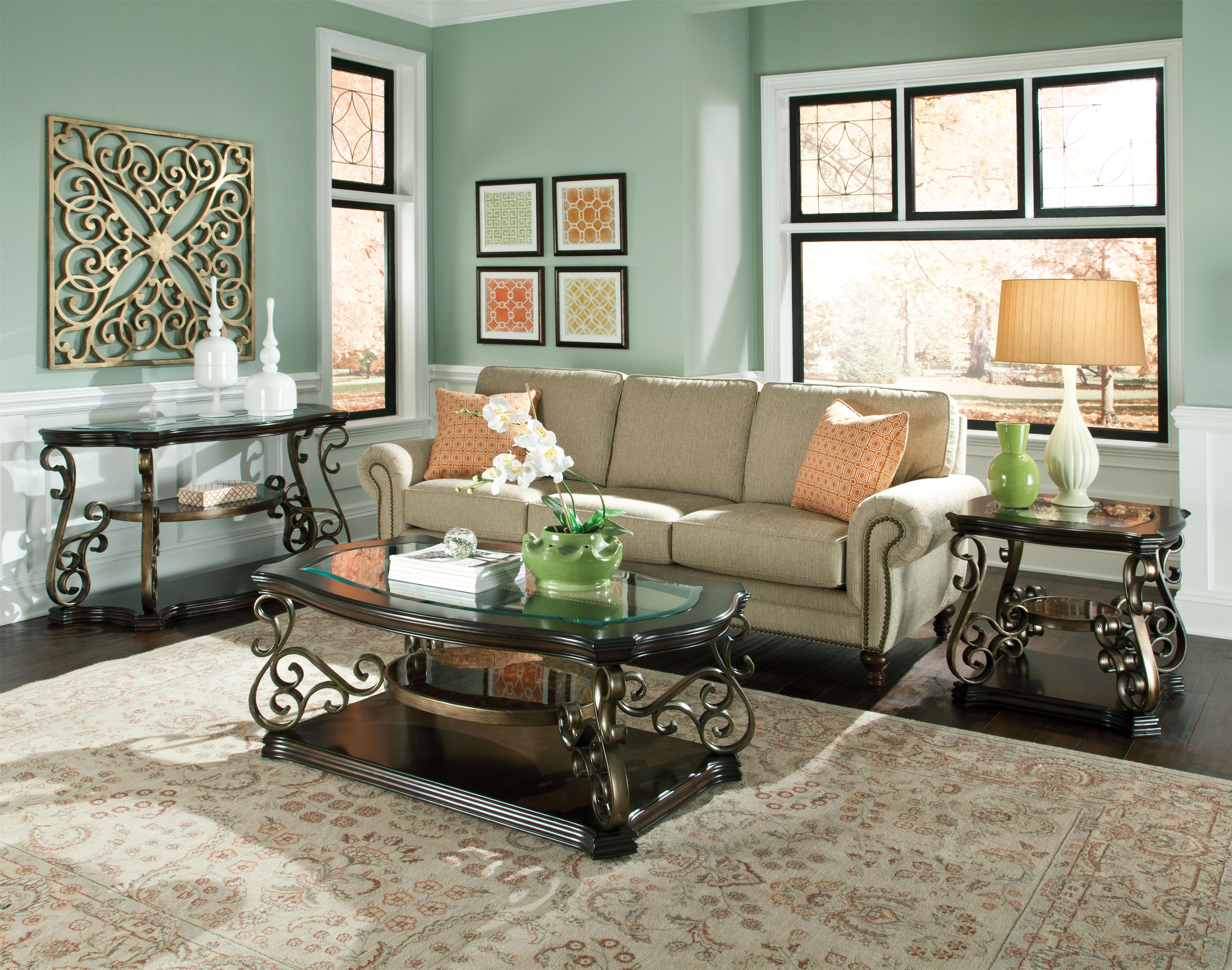 standard furniture seville 21937 glass top sofa table with 2 shelves great american home store. Black Bedroom Furniture Sets. Home Design Ideas