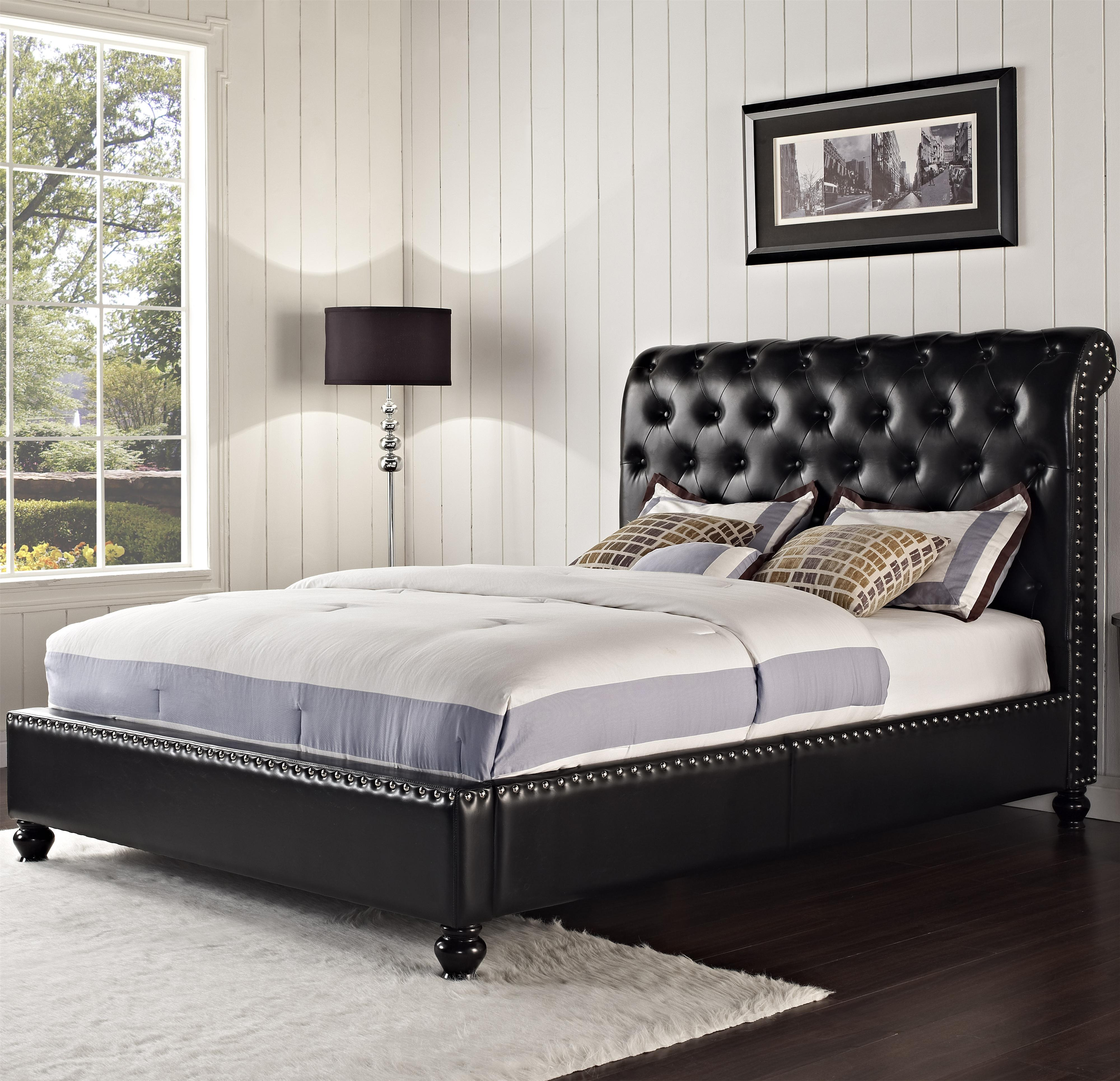 Standard furniture stanton upholstered king bed with for Royal headboard
