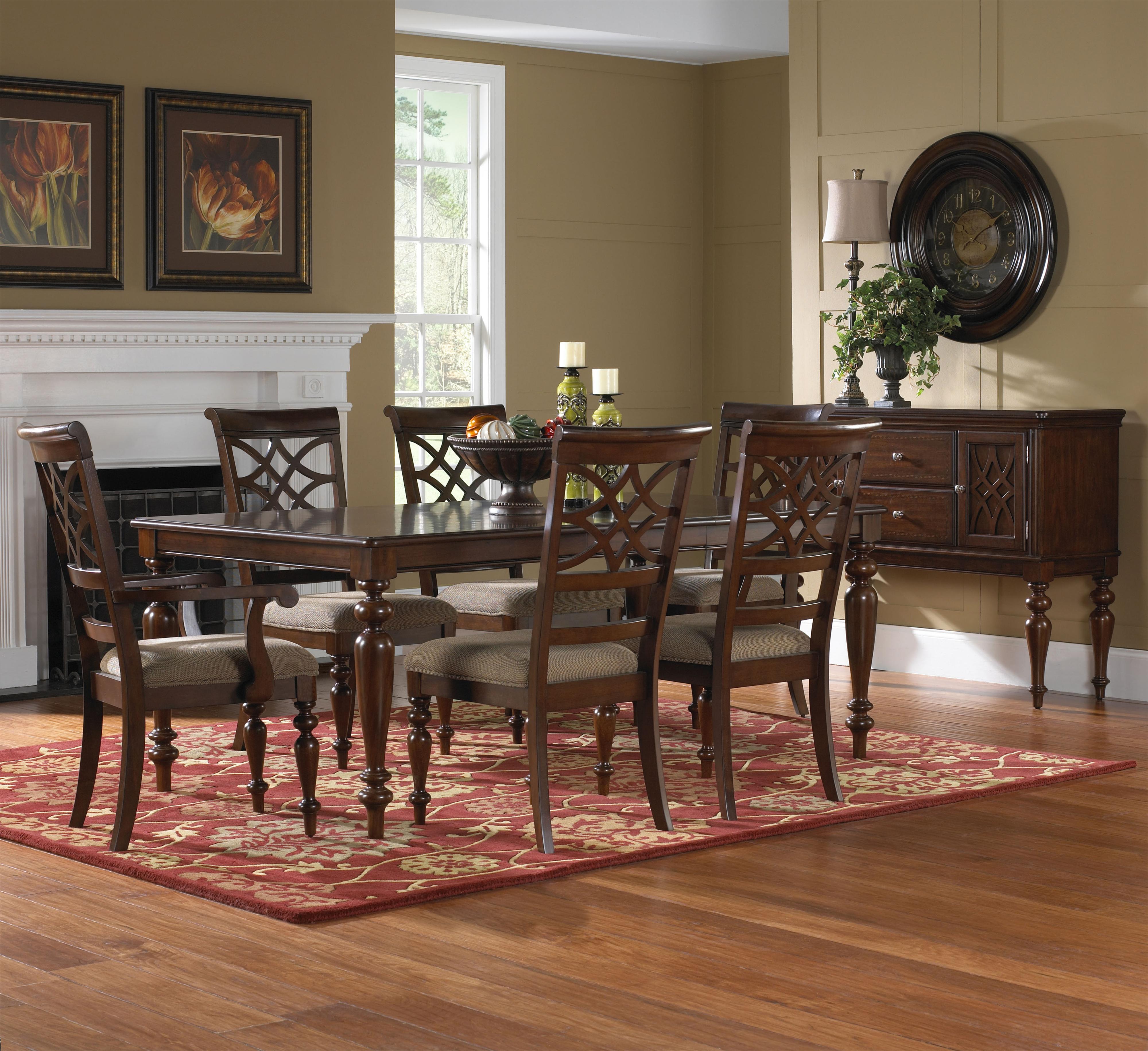 standard furniture woodmont 7 piece rectangular dining table upholstered chair set great. Black Bedroom Furniture Sets. Home Design Ideas