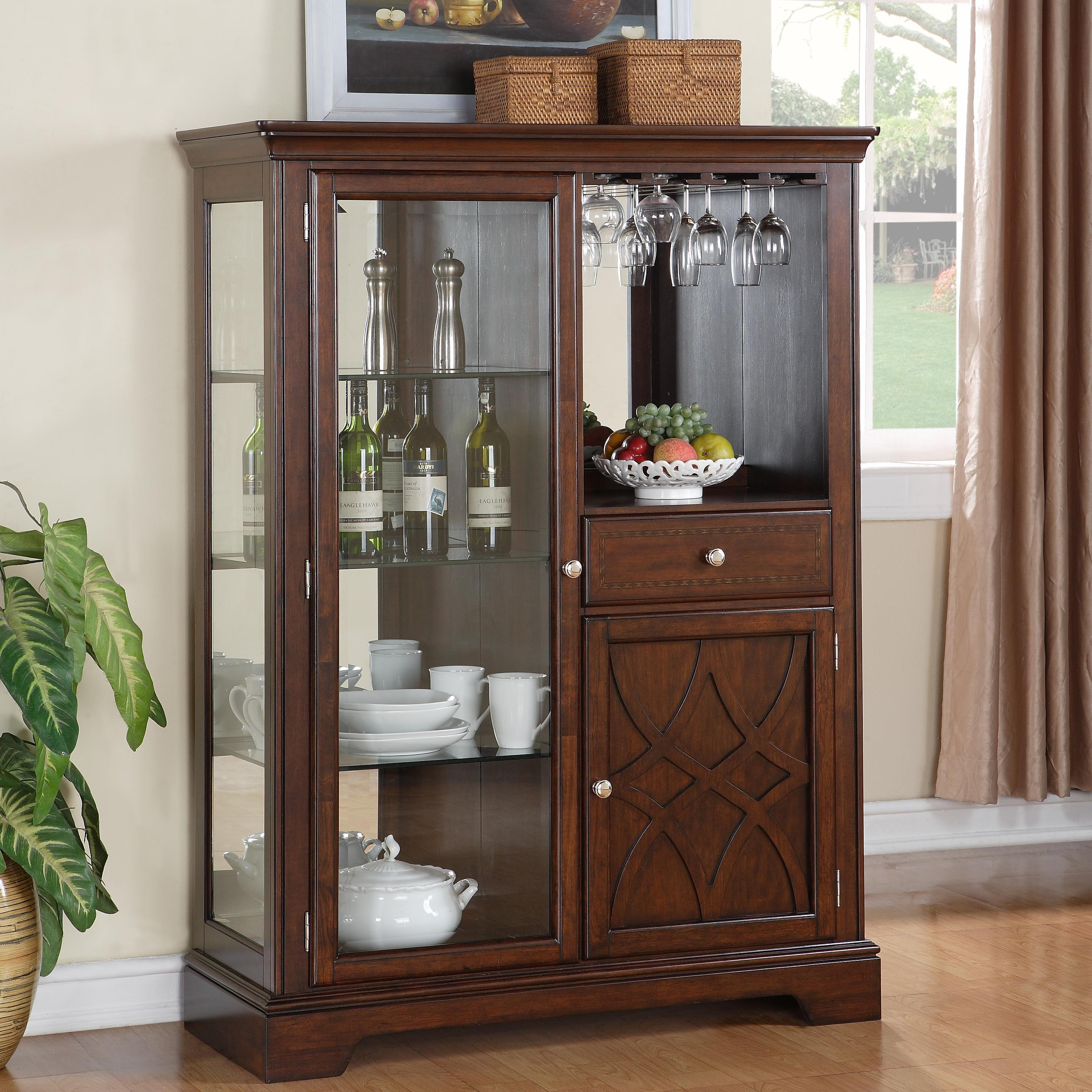 New Standard Furniture Woodmont 2 Door Display Curio Cabinet with 1  HT44