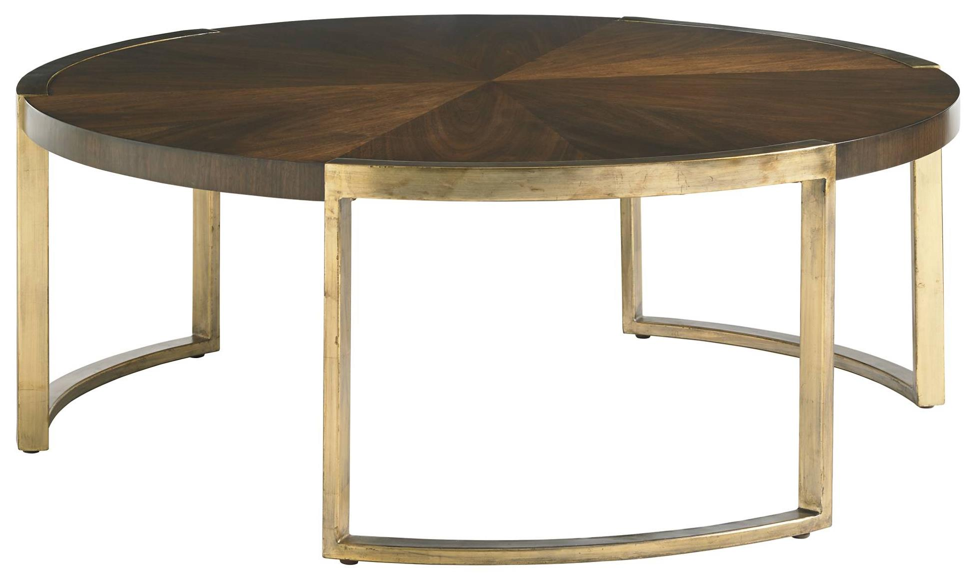 Stanley Furniture Crestaire 436 15 01 Mid Century Modern Autry Round Cocktail Table With Walnut