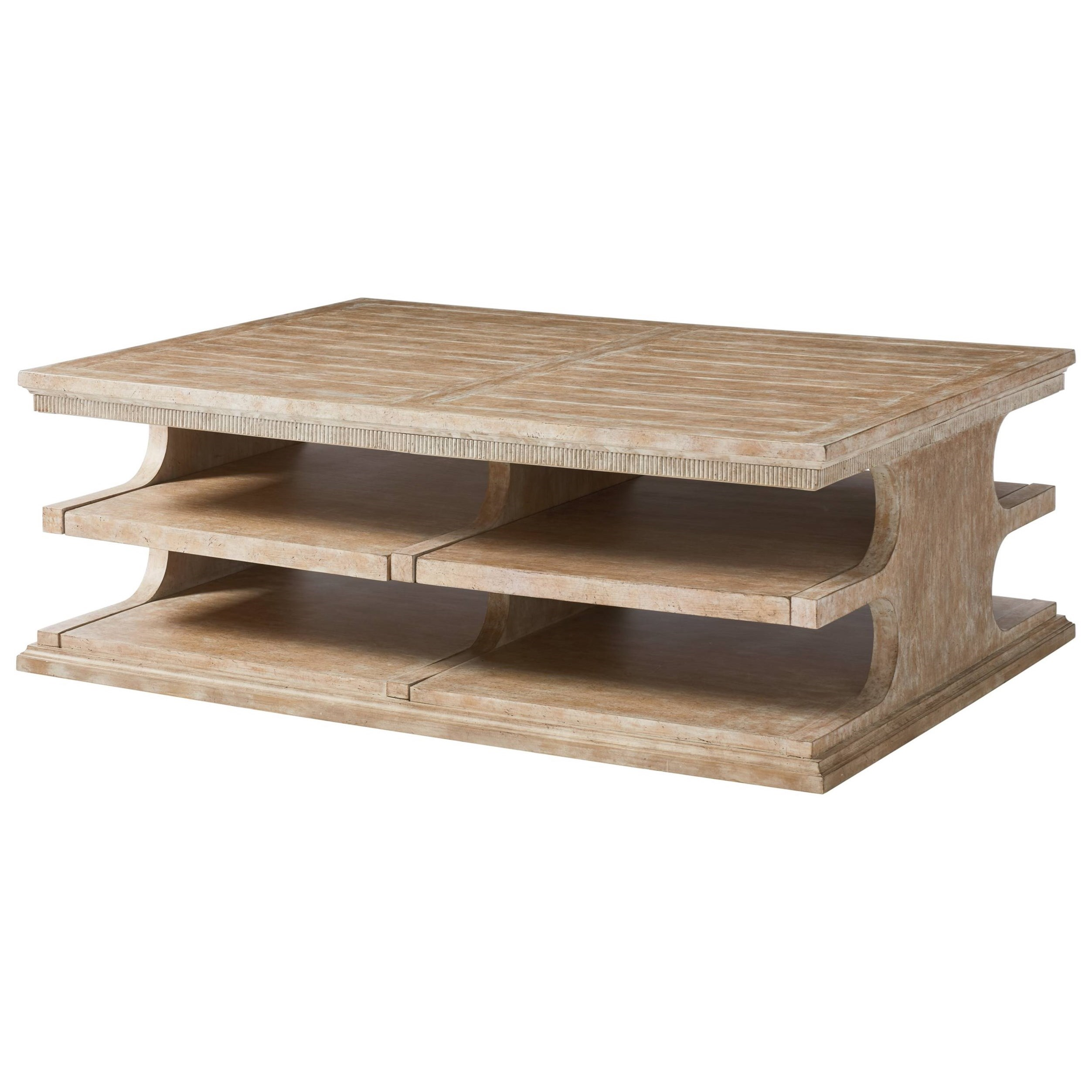 Stanley Furniture Juniper Dell Cocktail Table With Cantilevered Top Open Shelves Belfort