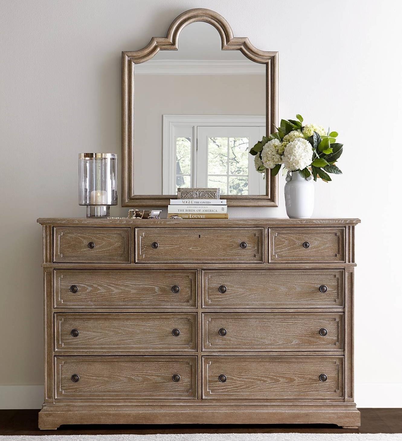 Stanley furniture wethersfield estate dresser with flip down drawer mirror belfort furniture for Stanley furniture bedroom set