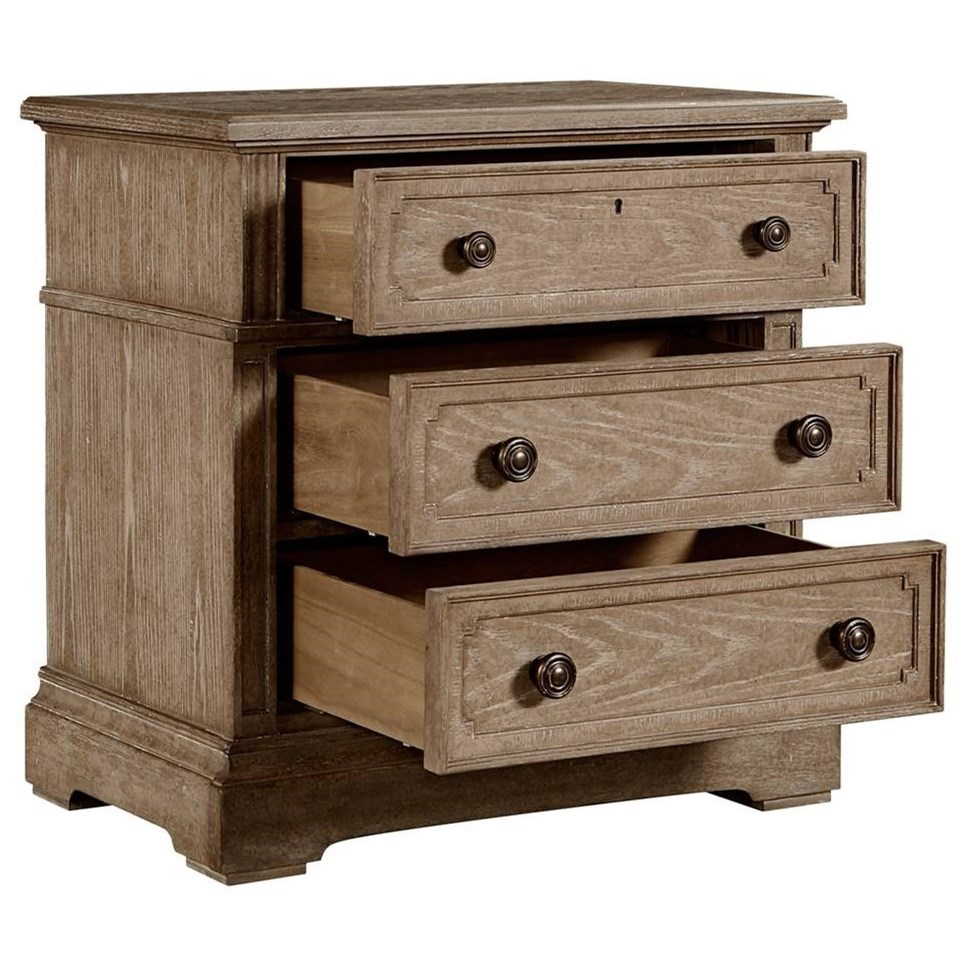 Stanley furniture wethersfield estate 518 13 80 nightstand with 3 soft close drawers dunk for Bedroom furniture soft close drawers