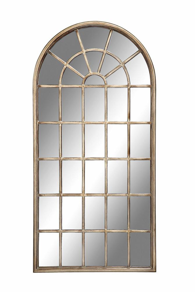 Stein world mirrors cathedral wall mirror with arched for Gold window mirror