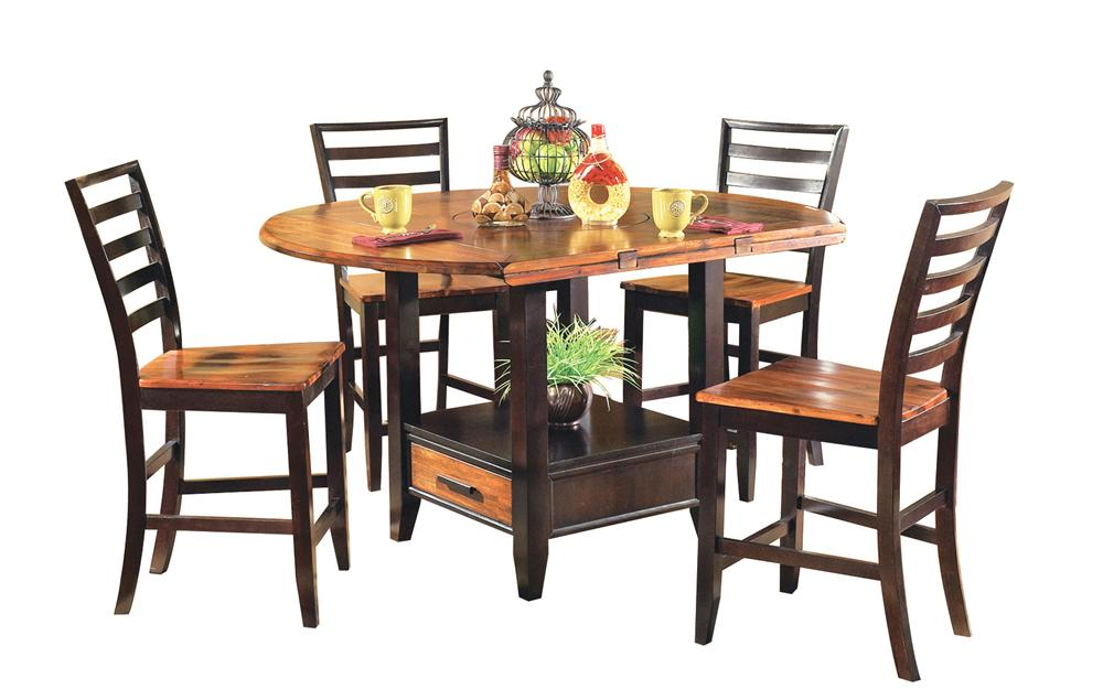 Abaco 5 Piece Gathering Table Set With Storage Base And Drop Leaves Ruby Gordon Furniture