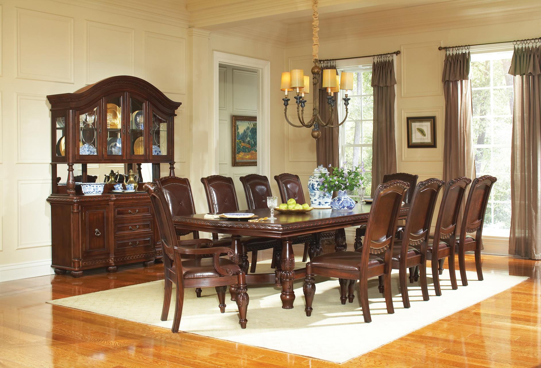 Steve silver antoinette 11 piece traditional dining table for 11 piece dining table set