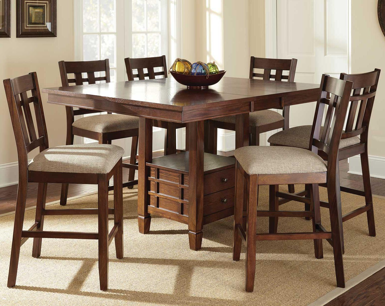 Steve silver bolton 7 piece counter height dining set with for Counter height dining table set