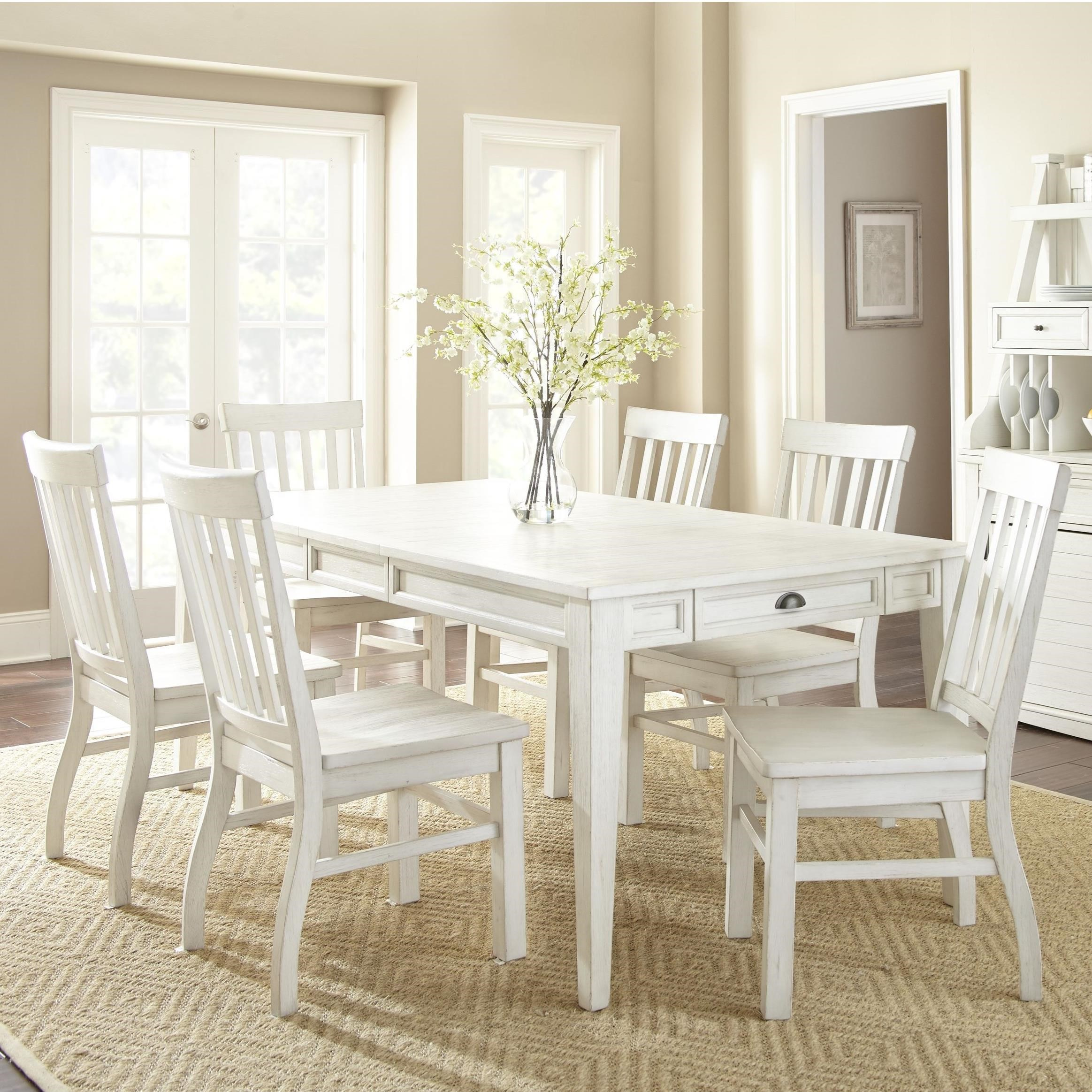 Prime cayla 7 piece farmhouse dining set with table for Farmhouse dining set