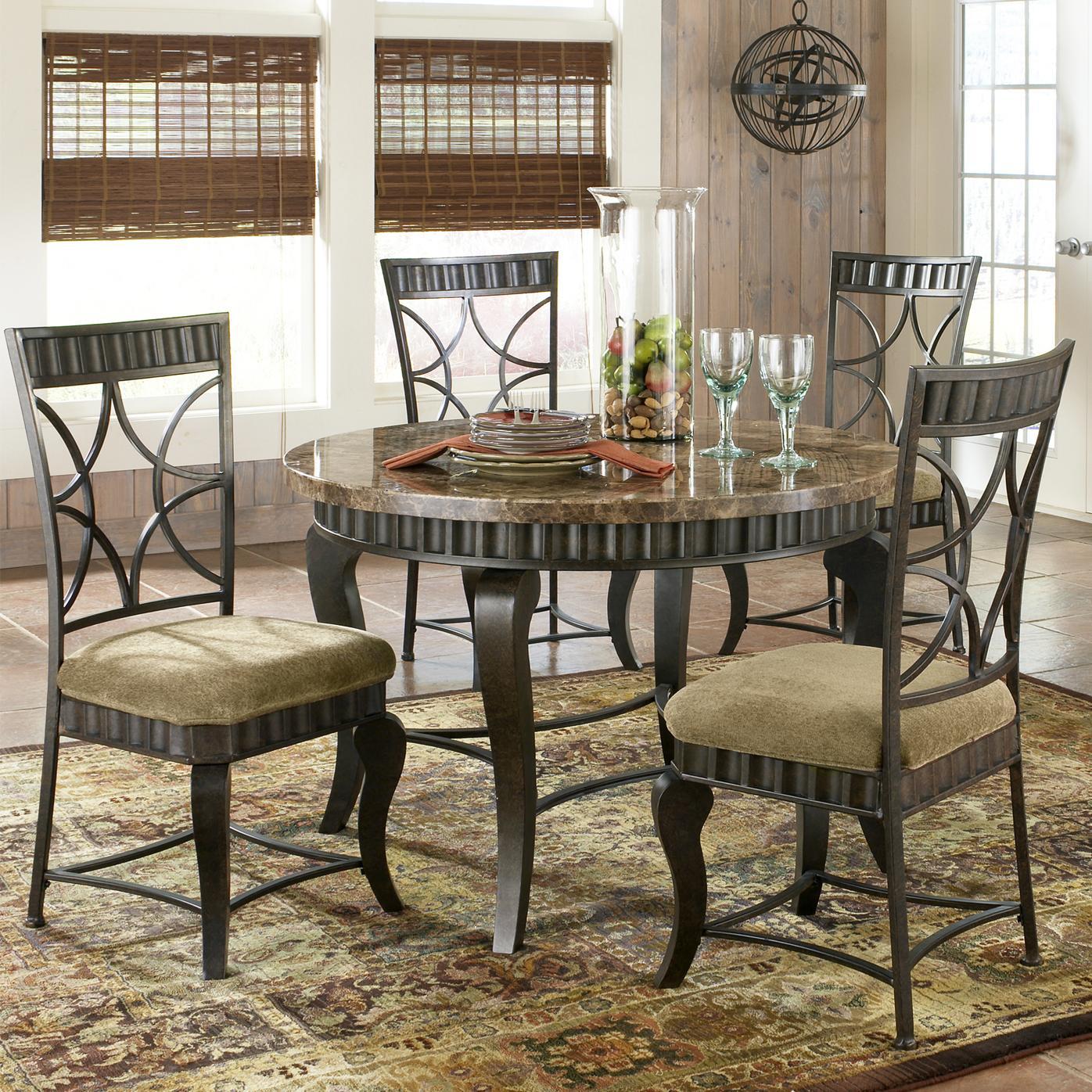 steve silver hamlyn 5 piece round faux marble top metal dining table set olinde 39 s furniture. Black Bedroom Furniture Sets. Home Design Ideas