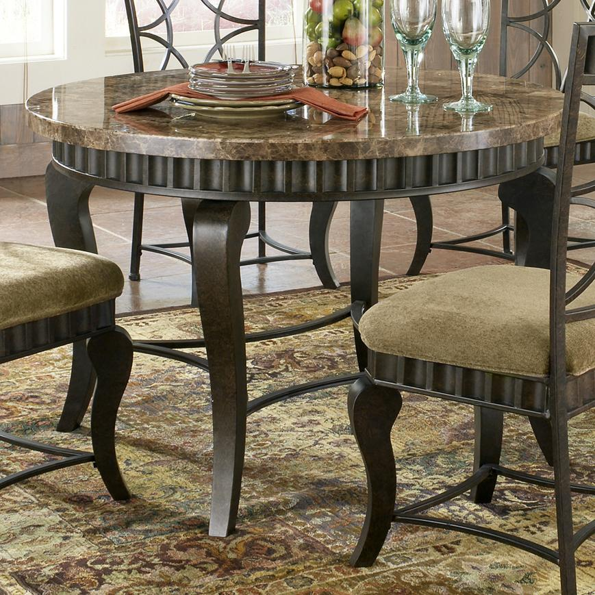 Steve silver hamlyn round faux marble top metal dining for Round marble kitchen table