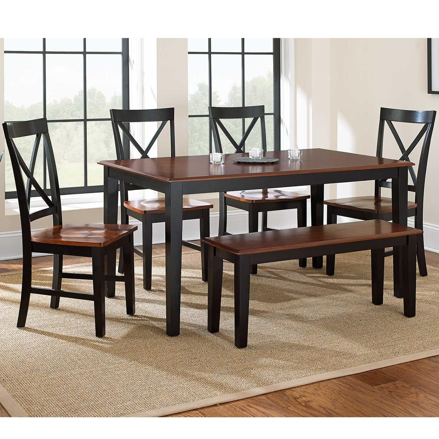 Steve silver kingston 6 piece casual dining table bench for Casual dining room chairs