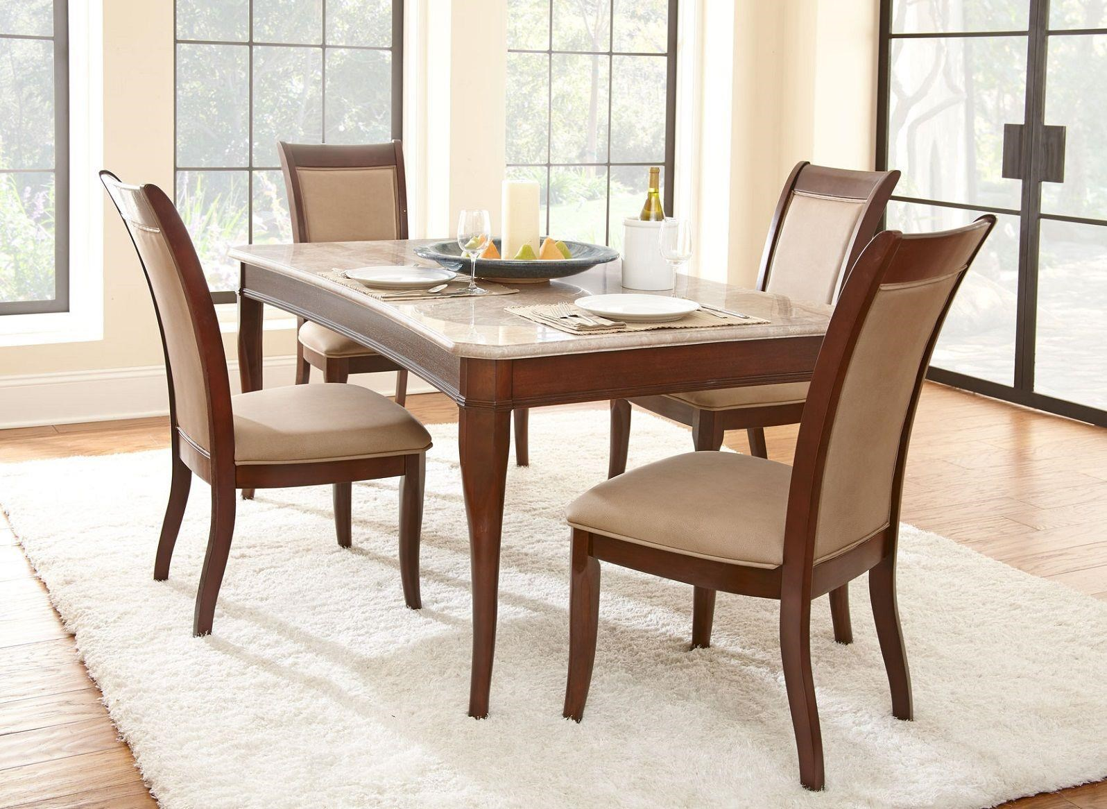 Steve Silver Marseille Marble Top Table With 4 Chairs Royal Furniture Dining 5 Piece Sets