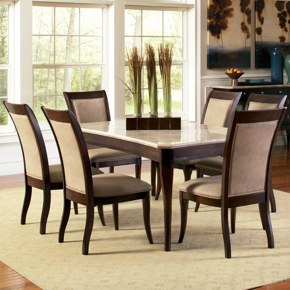 Steve silver marseille 7 piece rectangular marble table for 7 piece dining set with bench