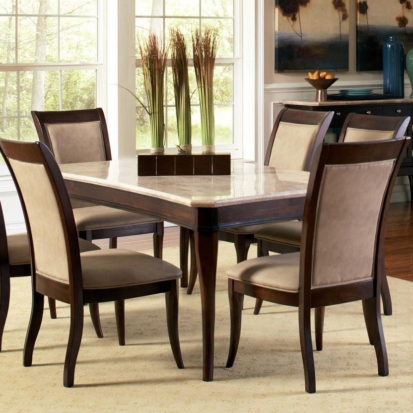 steve silver marseille transitional rectangular marble top dining table olinde 39 s furniture. Black Bedroom Furniture Sets. Home Design Ideas