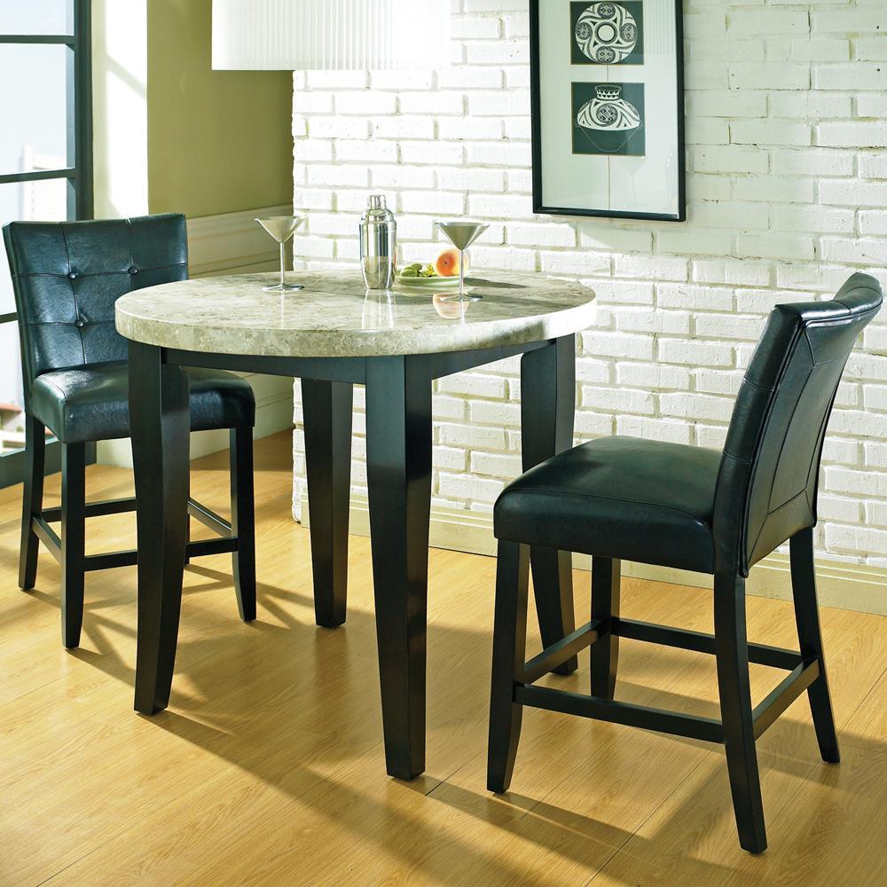 steve silver monarch 3 pc round marble veneer top counter. Black Bedroom Furniture Sets. Home Design Ideas