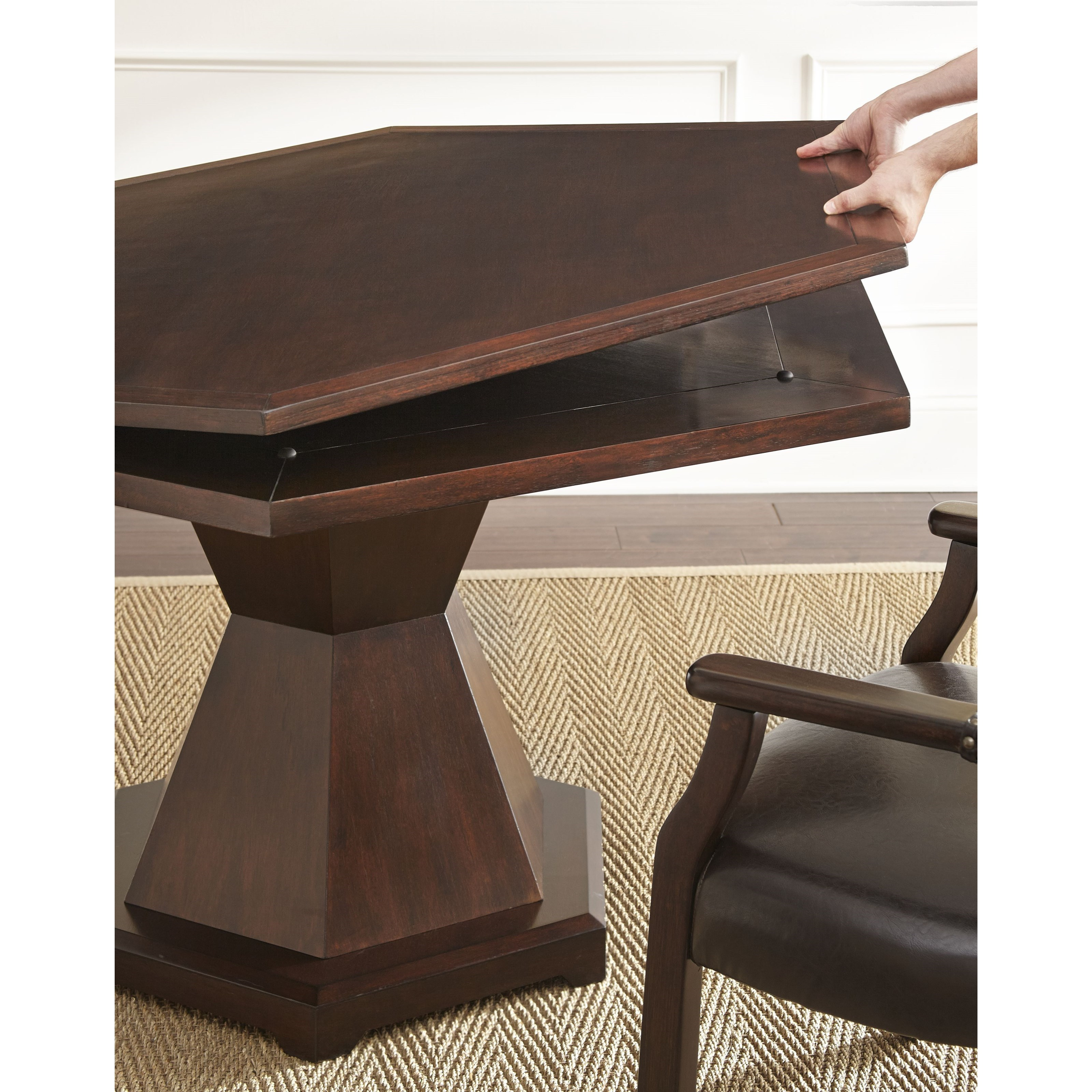 Morris game dining 2 in 1 single pedestal table morris for Morris home