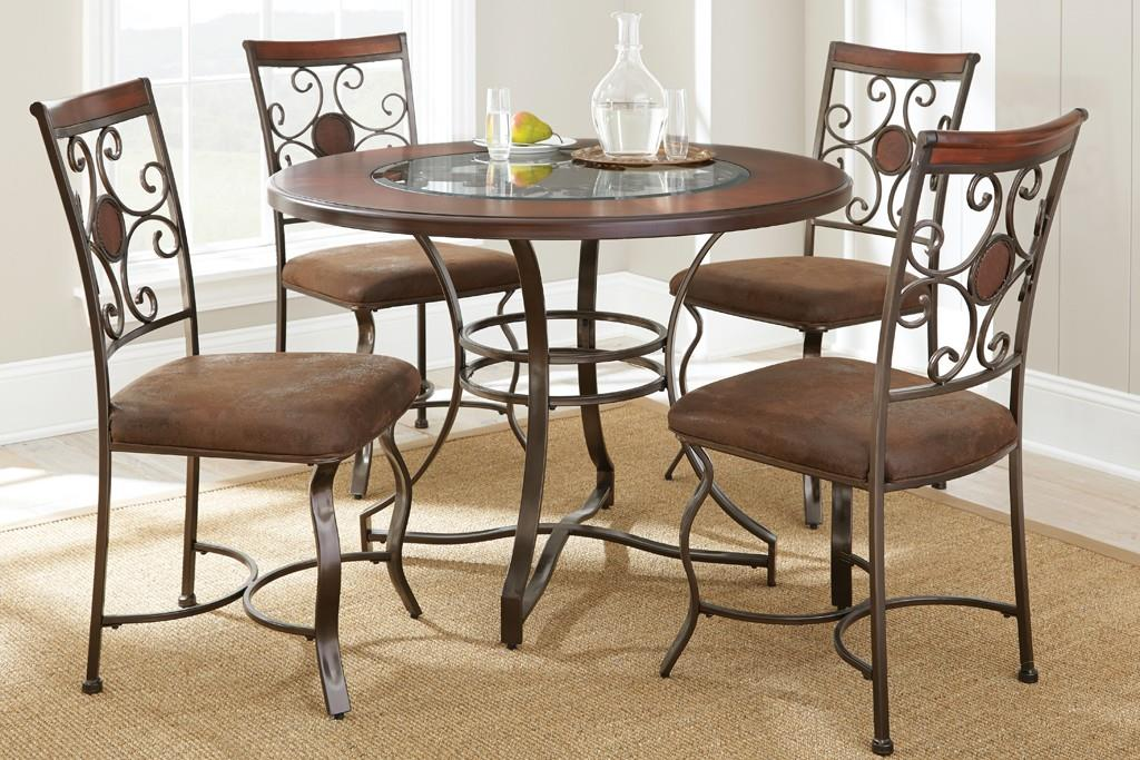 Steve silver toledo round table with glass insert olinde for Kitchen table with glass insert