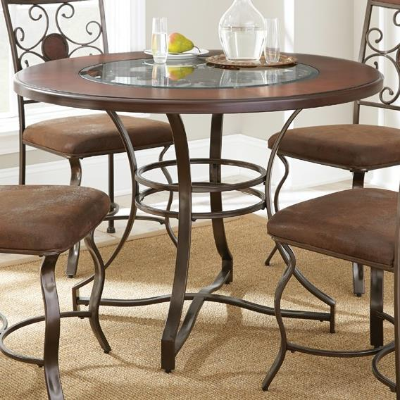 Steve silver toledo round table with glass insert for Kitchen table with glass insert