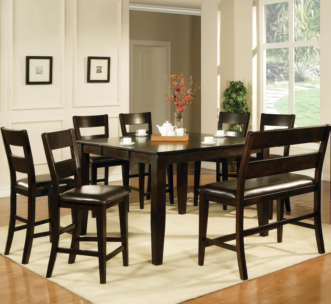 steve silver victoria 8 piece counter height dining set with bench furniture superstore nm. Black Bedroom Furniture Sets. Home Design Ideas