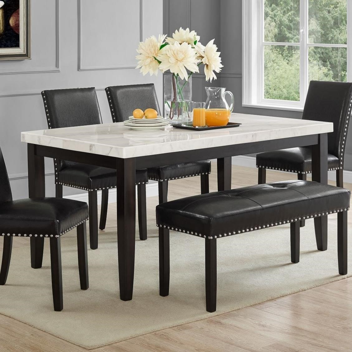 Steve Silver Westby 1344946 Transitional White Marble Top Dining Table Dunk Bright Furniture Dining Tables