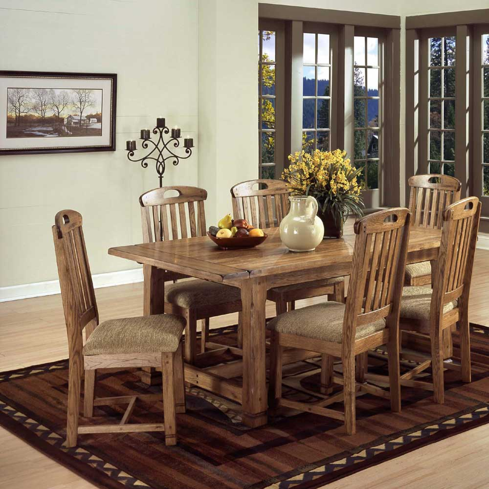 Sunny designs sedona rustic oak 7 piece dining set dunk for 7 piece dining set with bench