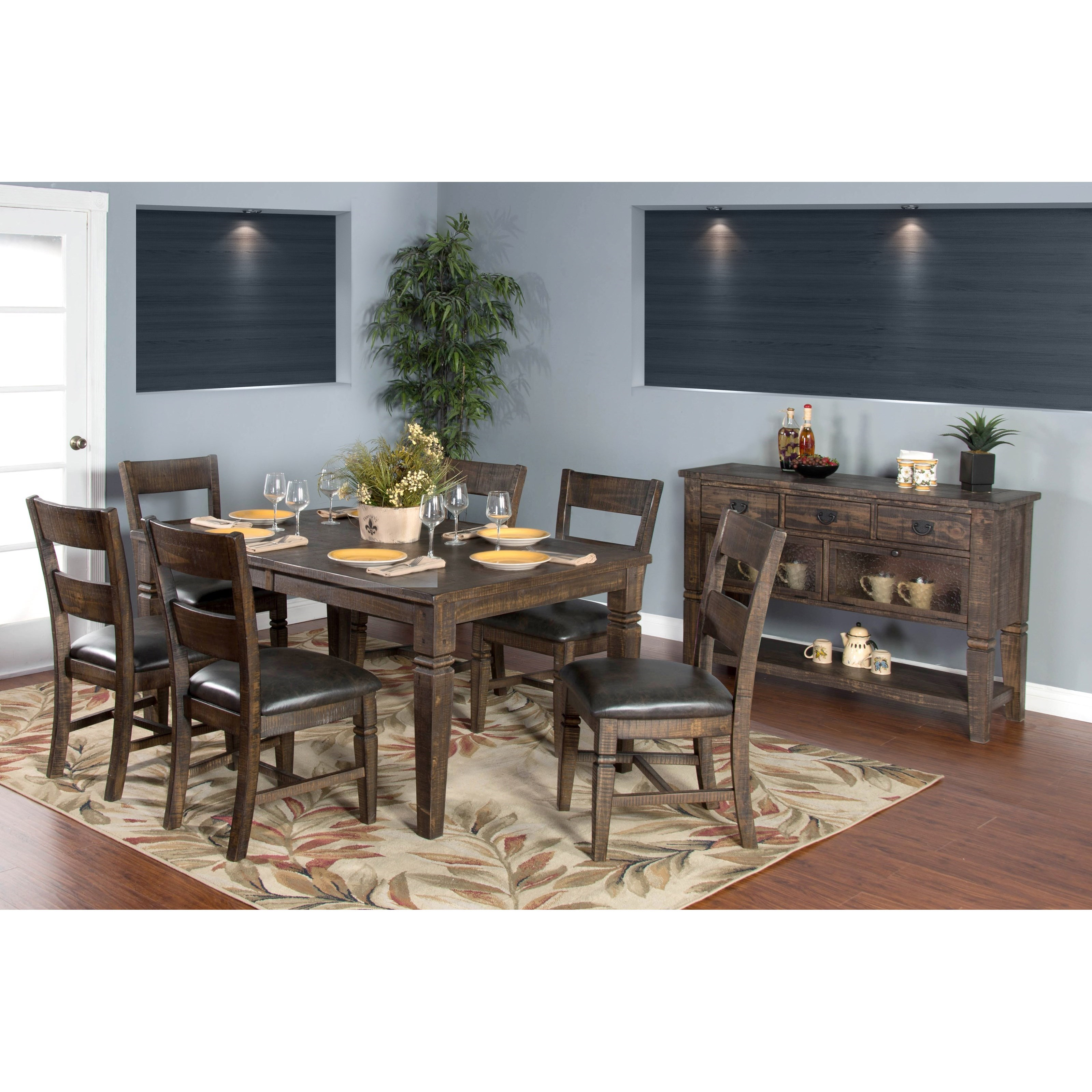 Sunny designs homestead 7 piece extension dining table set for Homestead furniture and appliances