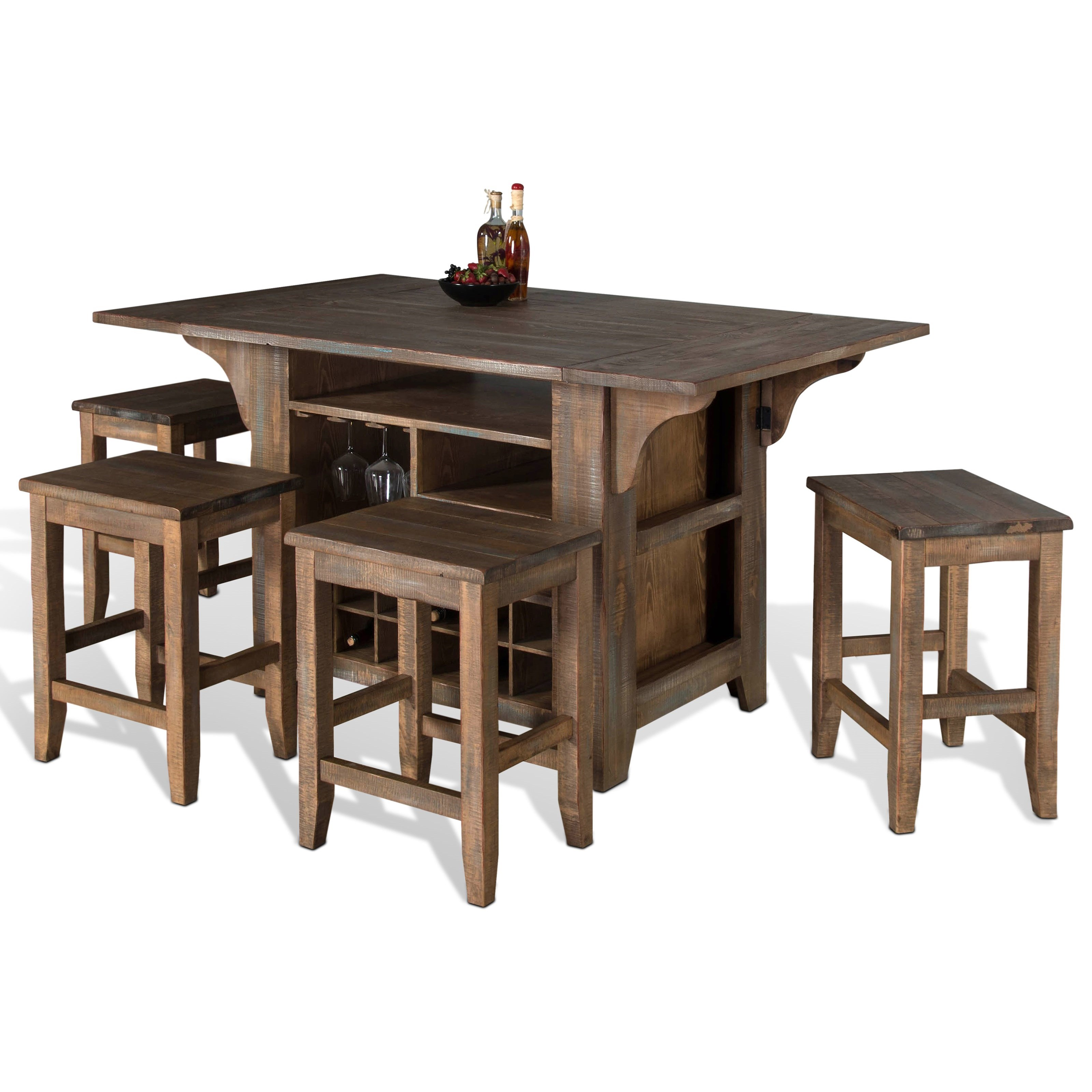 Sunny Designs Puebla 5 Piece Kitchen Island With Drop Leaves Set Suburban Furniture Pub
