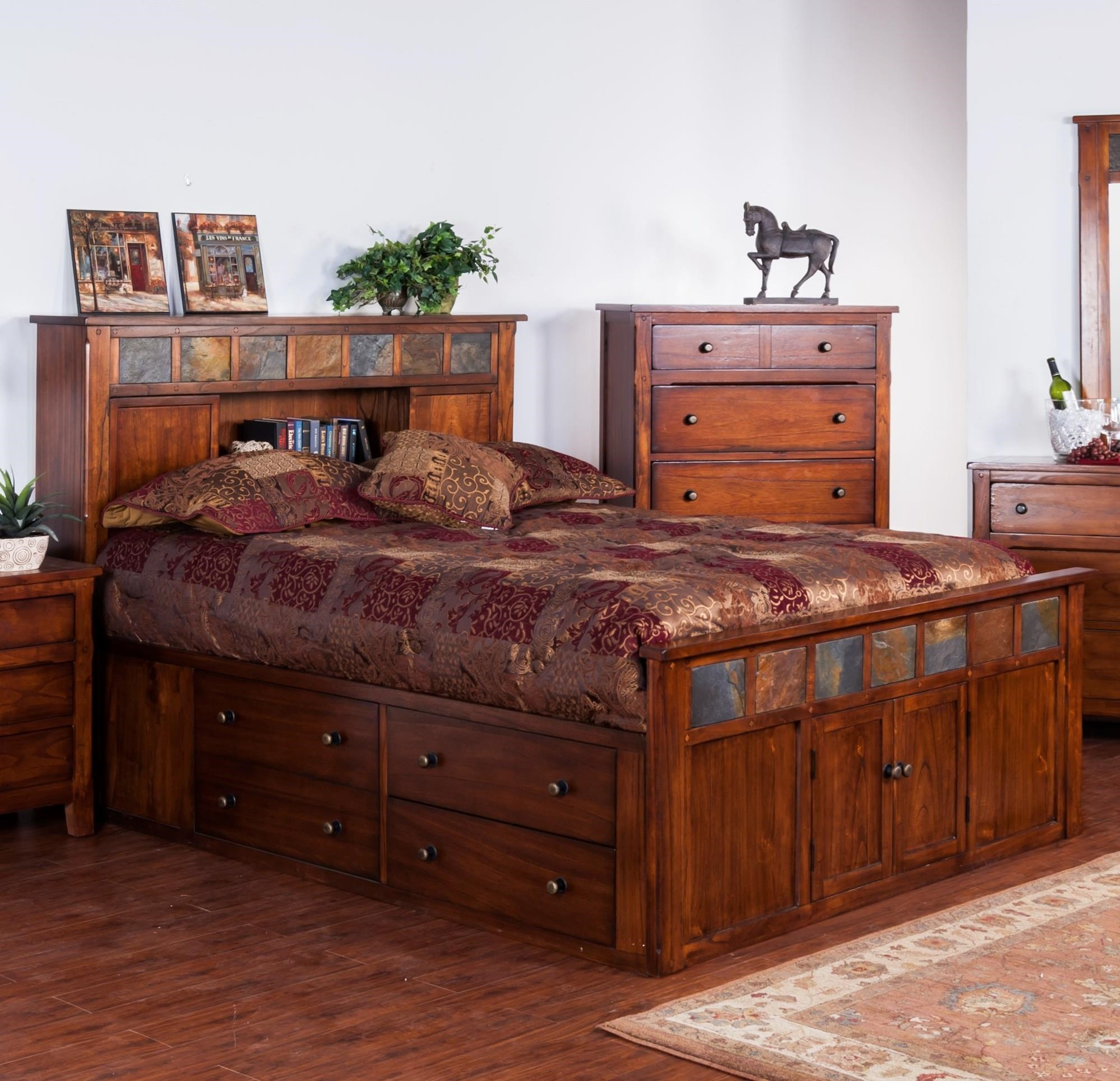 Sunny designs santa fe 2334dc sq queen storage bed w for Santa fe designs