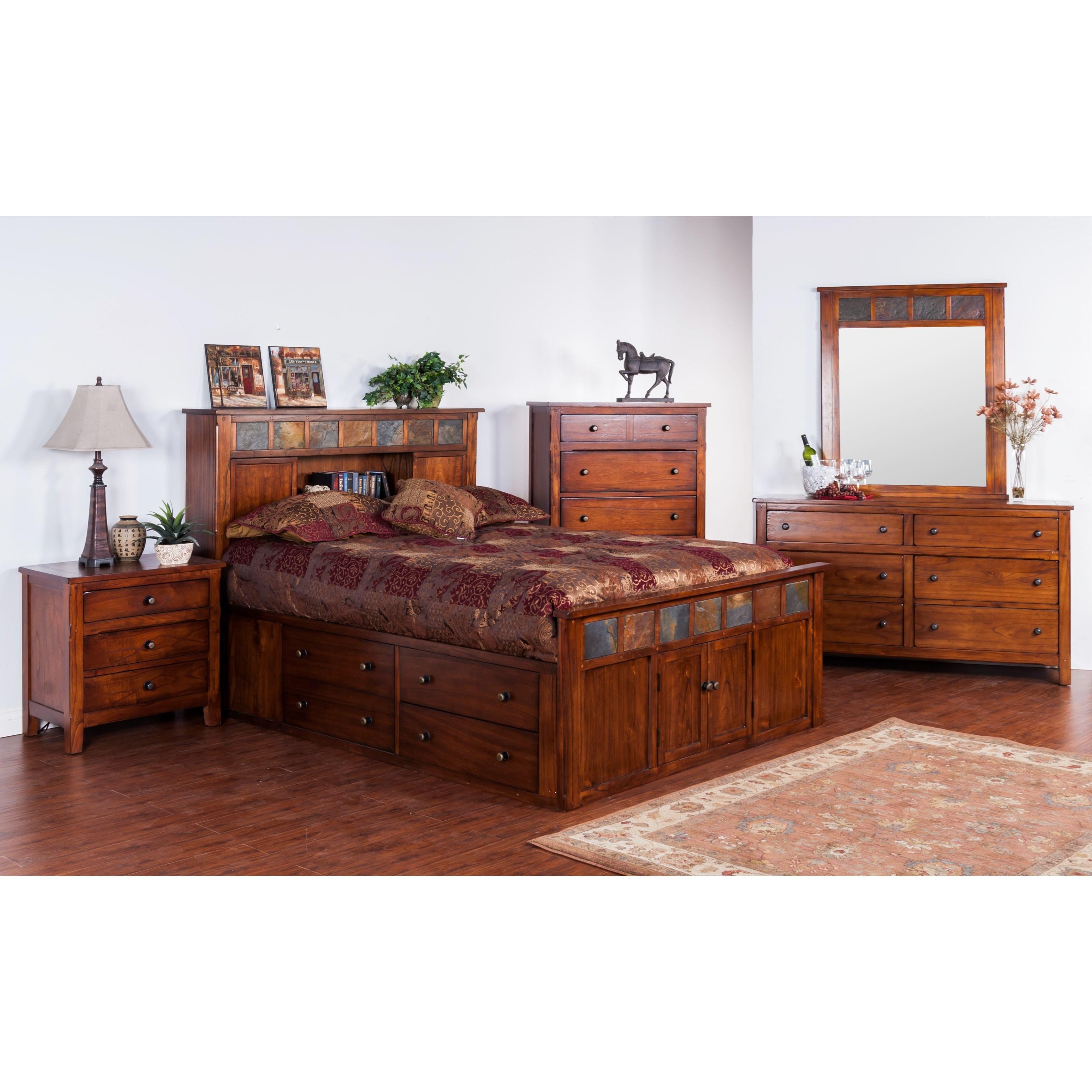 Sunny designs santa fe queen storage bed w slate fashion furniture bookcase beds for Sunny designs bedroom furniture