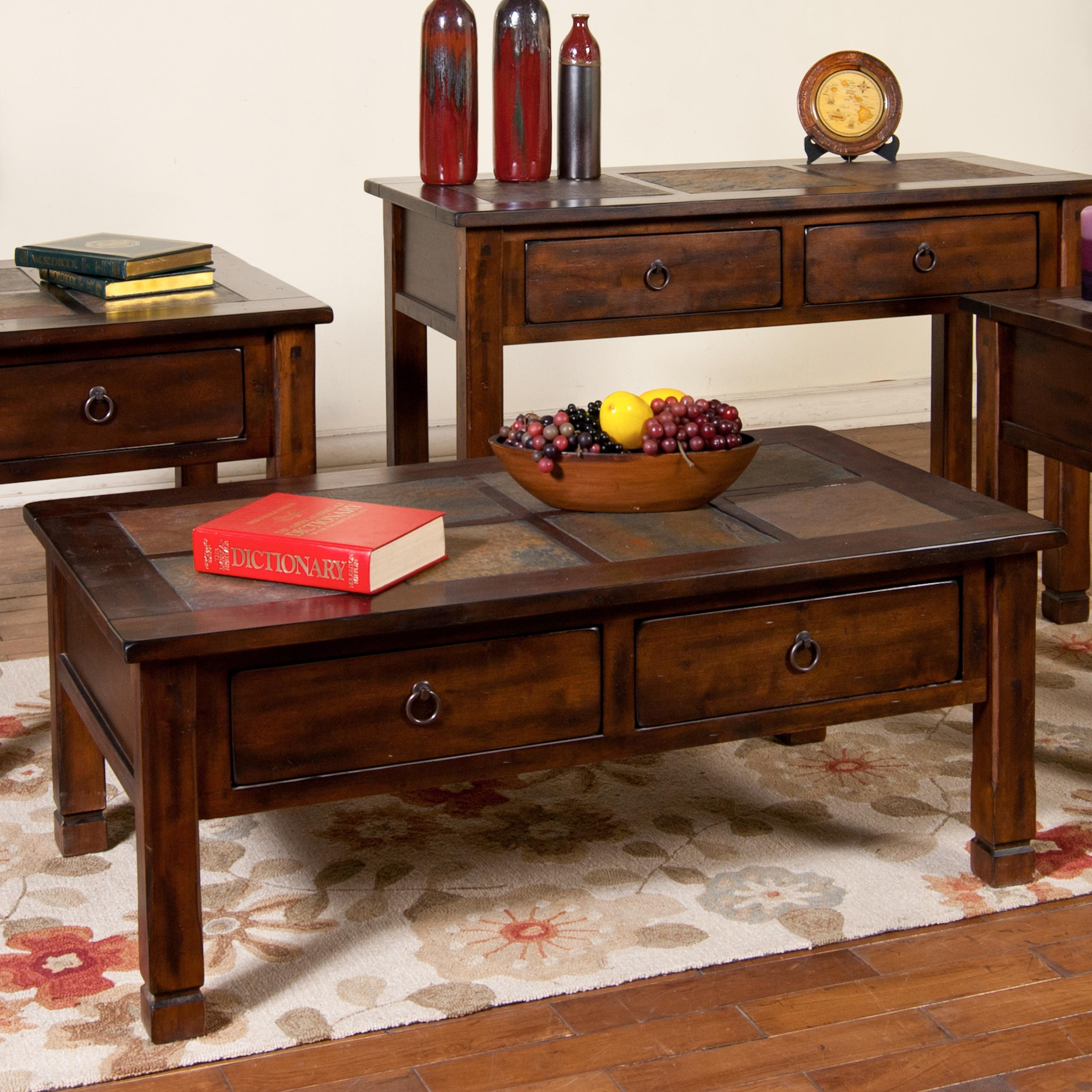 Coffee table with slate tiles and 2 drawers for Furniture collection