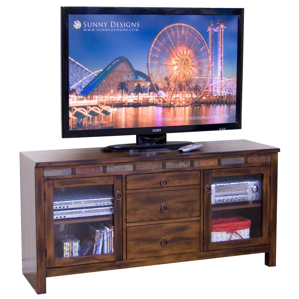 Sunny Designs Santa Fe Fireplace Tv Console 3489dc66r Wall