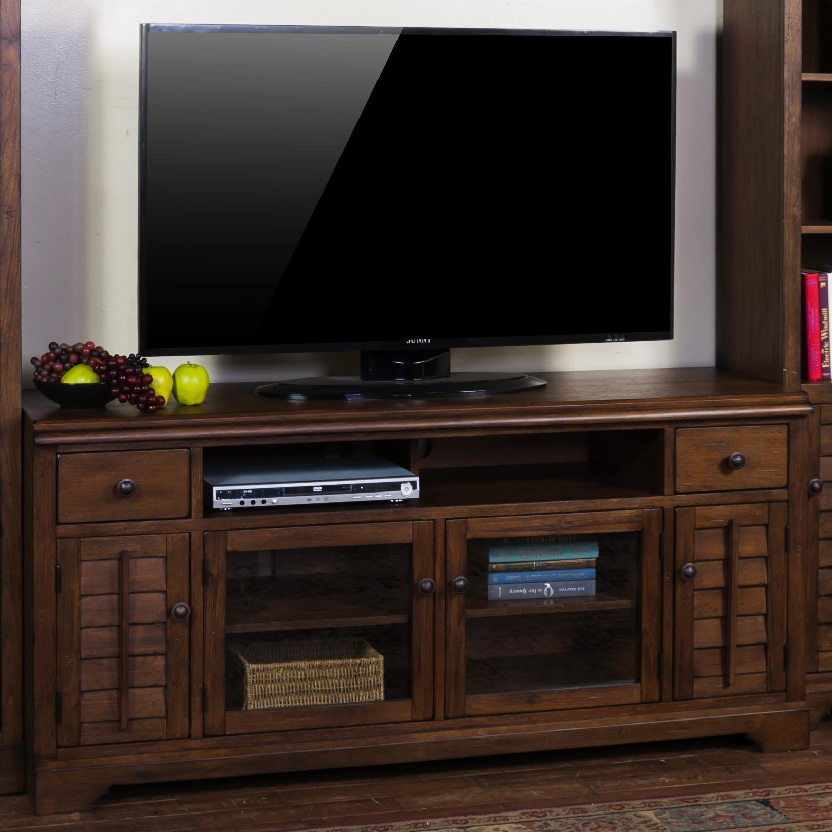Savannah 65 tv console with louver style doors by sunny for Consolle design outlet