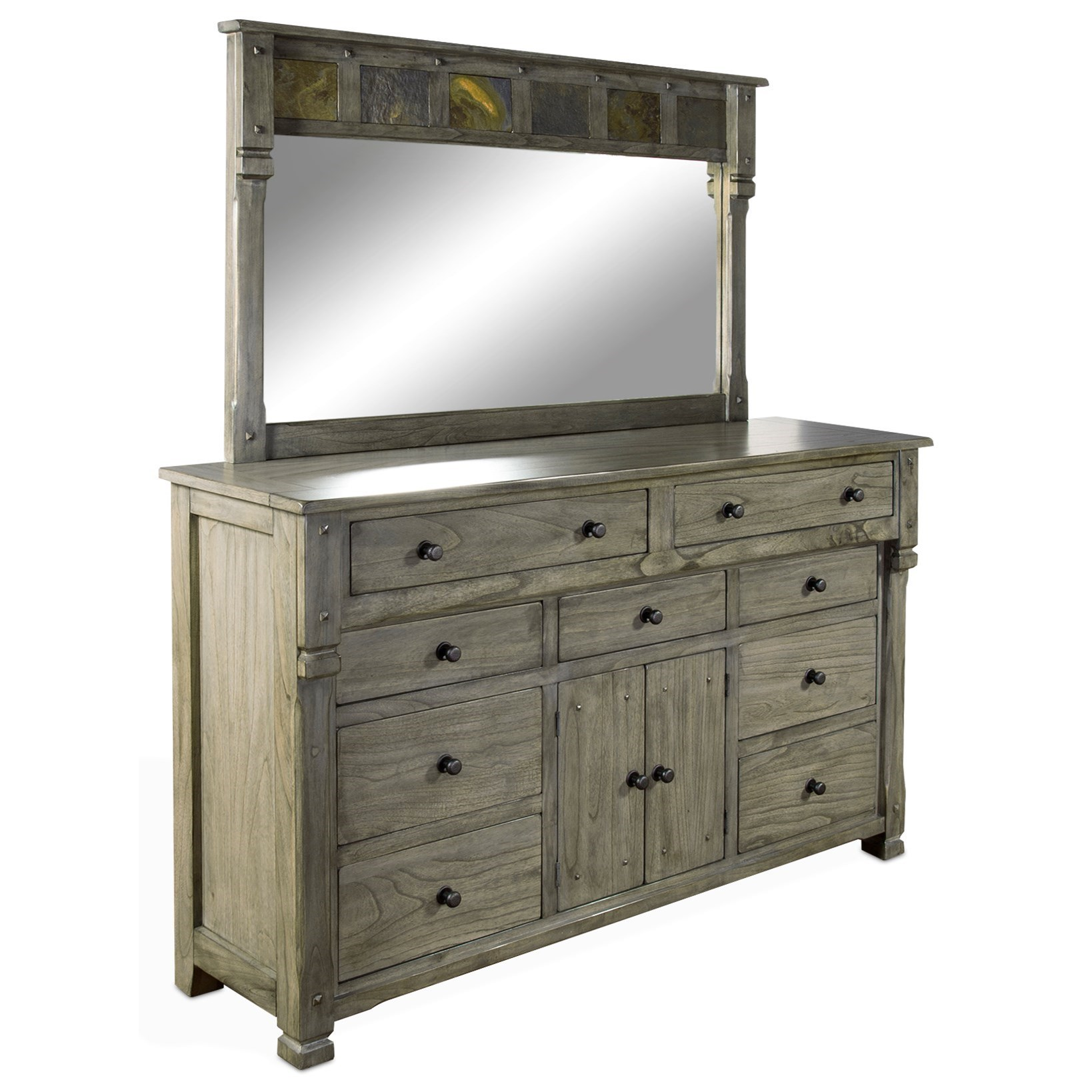 Sunny Designs Scottsdale Dresser Mirror With Slate Tile