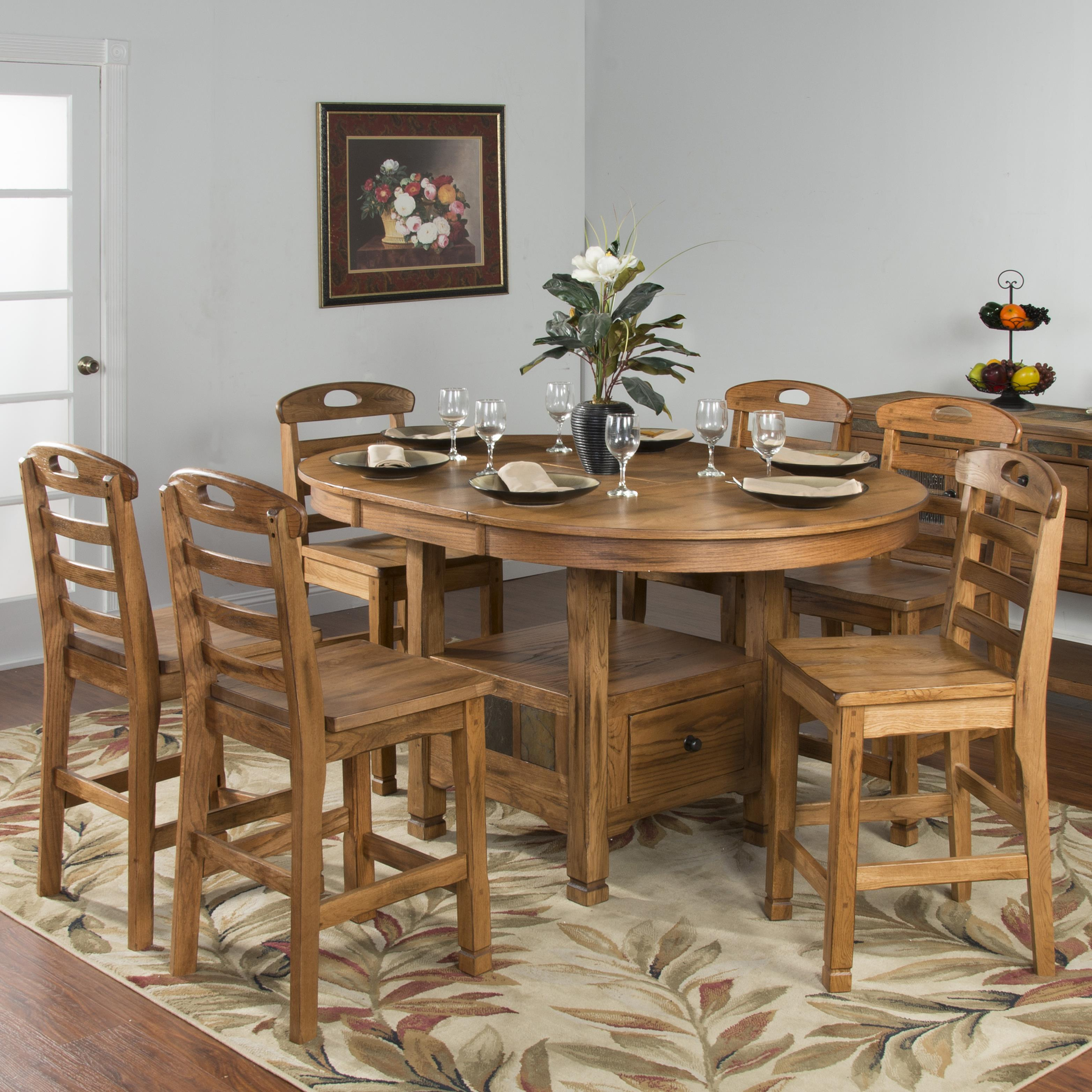 Sedona rustic oak 7 piece dining set by sunny designs for Rustic dining set