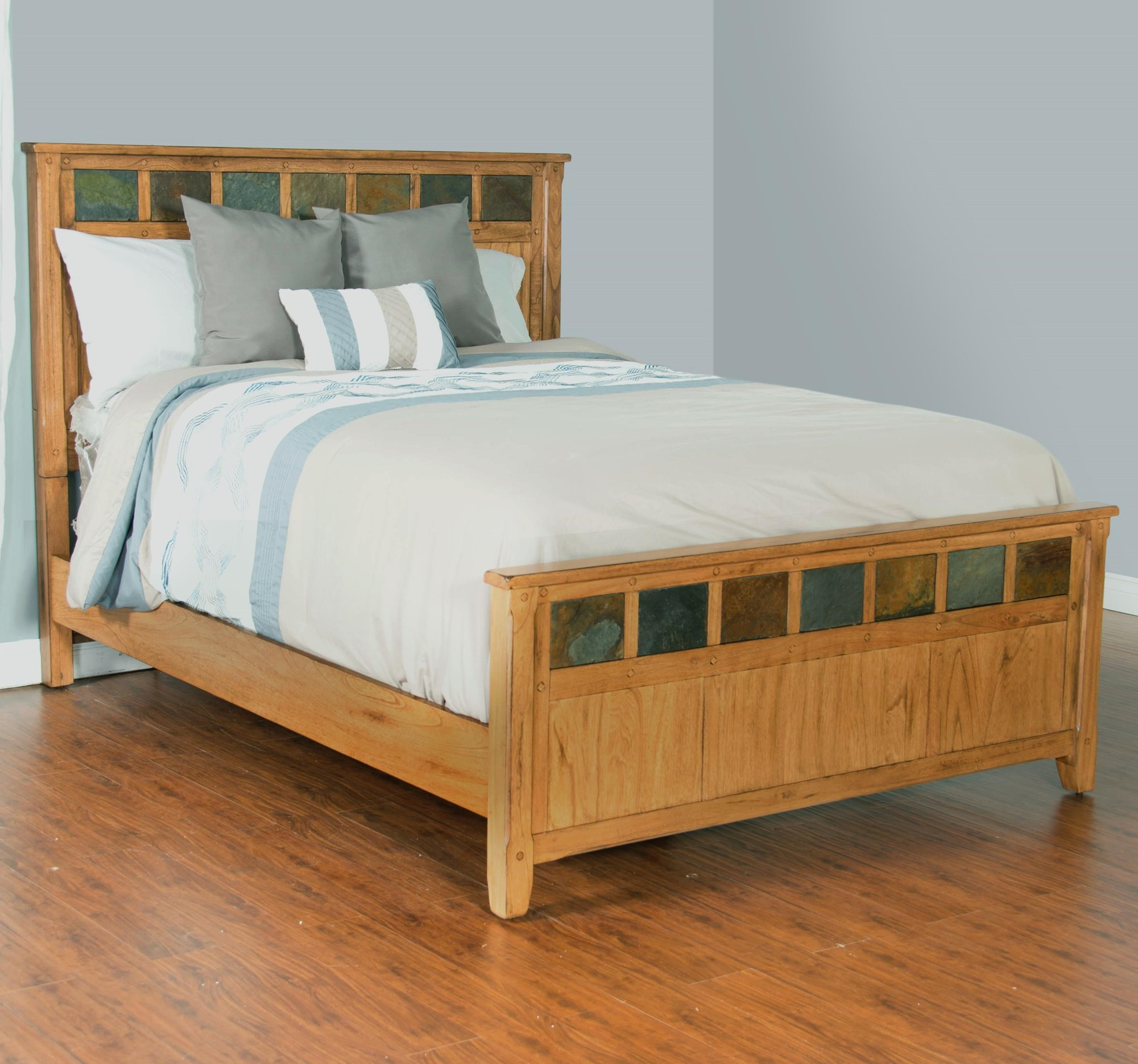 Sunny designs sedona queen bed with slate tiles conlin 39 s furniture panel beds for Sunny designs bedroom furniture