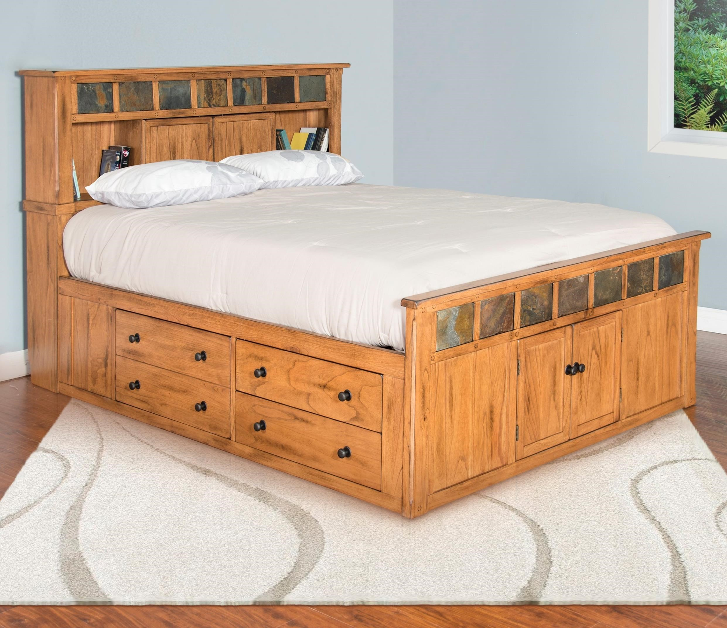 Sunny designs sedona queen storage bed w slate john v schultz furniture bookcase beds for Sunny designs bedroom furniture