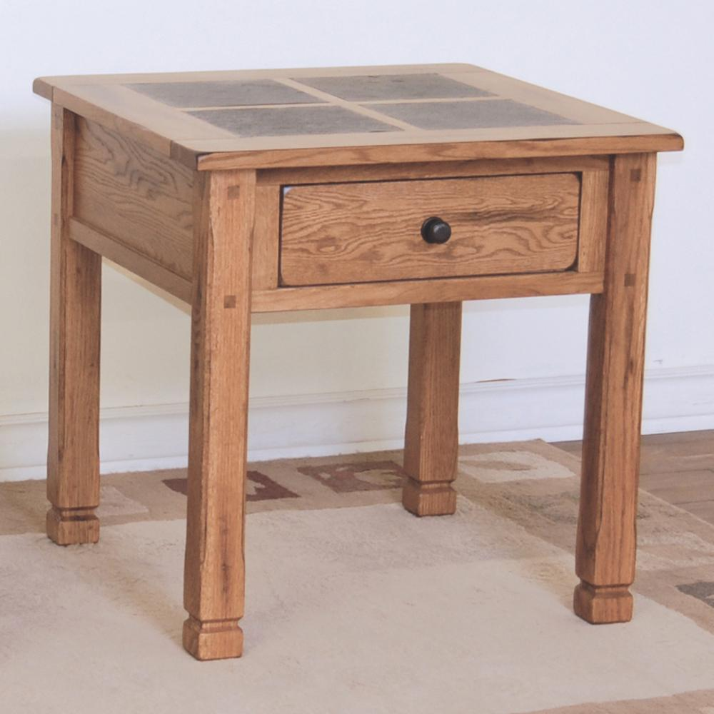 Sunny designs sedona rustic oak end table with slate top for End tables for sale near me