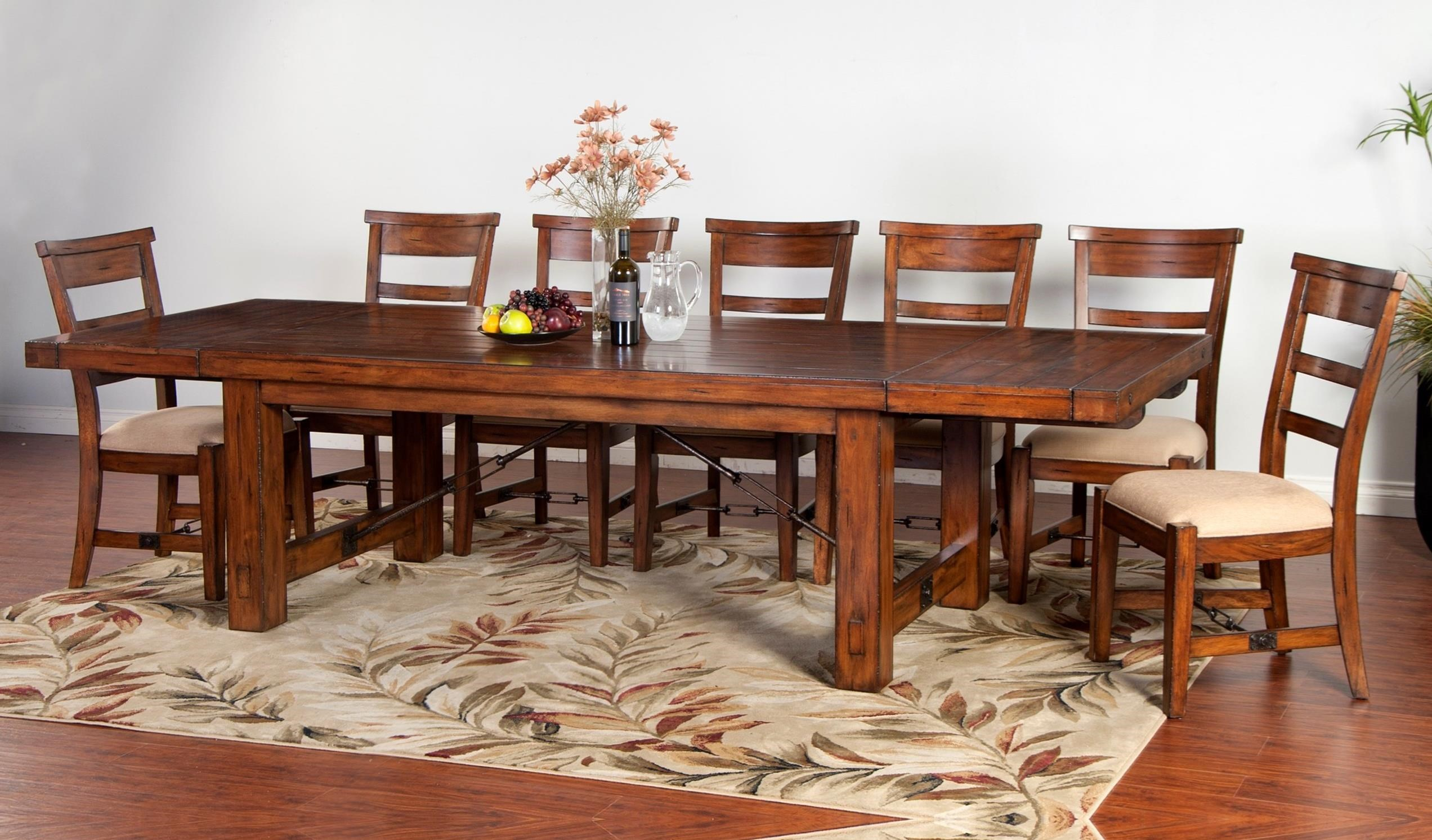Sunny designs tuscany distressed mahogany 8 piece for Dining room tables 11 piece