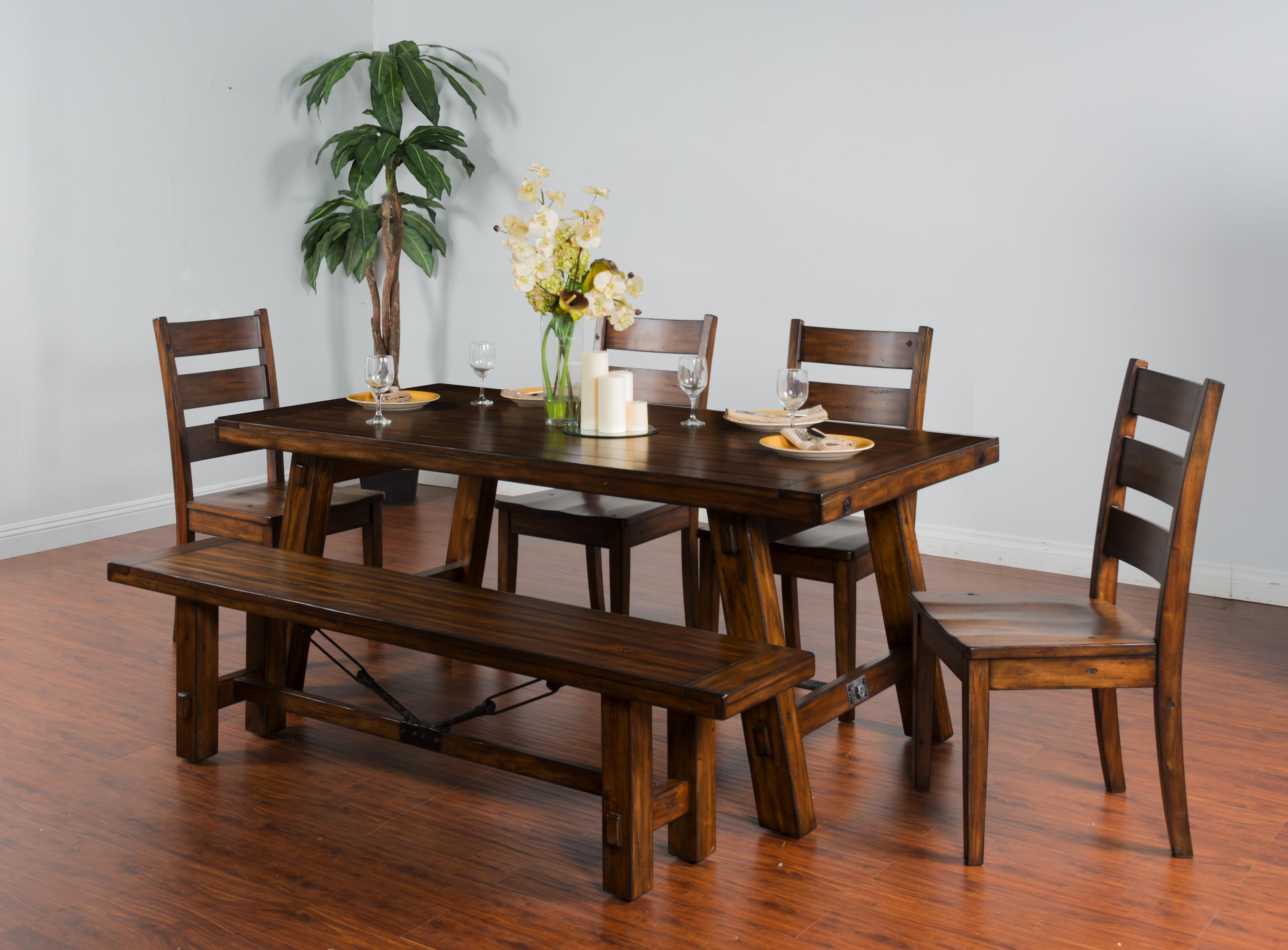 sunny designs tuscany 1380vm distressed mahogany extension table w turnbuckle accent. Black Bedroom Furniture Sets. Home Design Ideas
