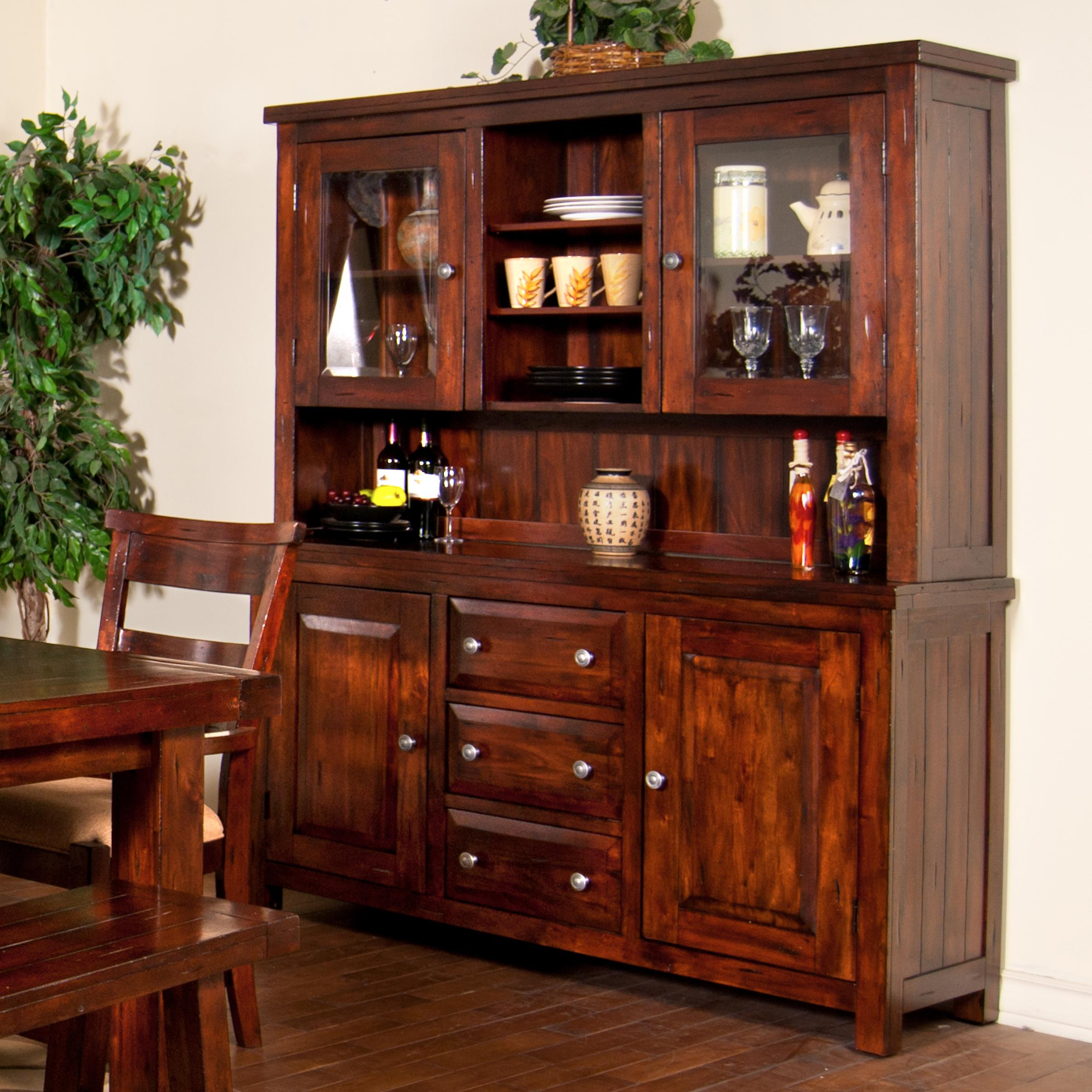 Vineyard 2 piece china cabinet with glass hutch doors by for Dining room buffet cabinet designs