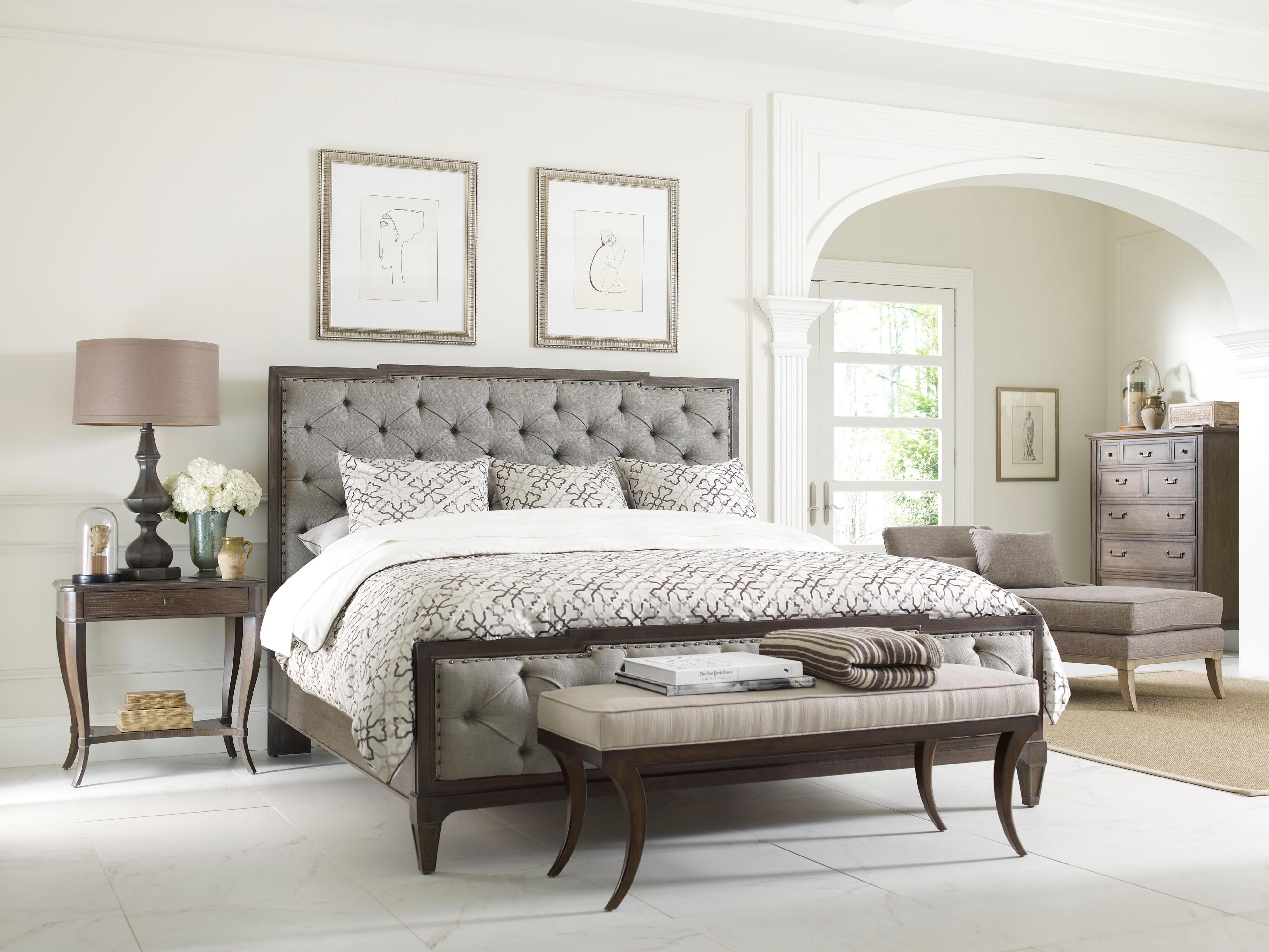 Thomasville Harlowe Finch Mirabeau King Sized Bed With Upholstered Hea