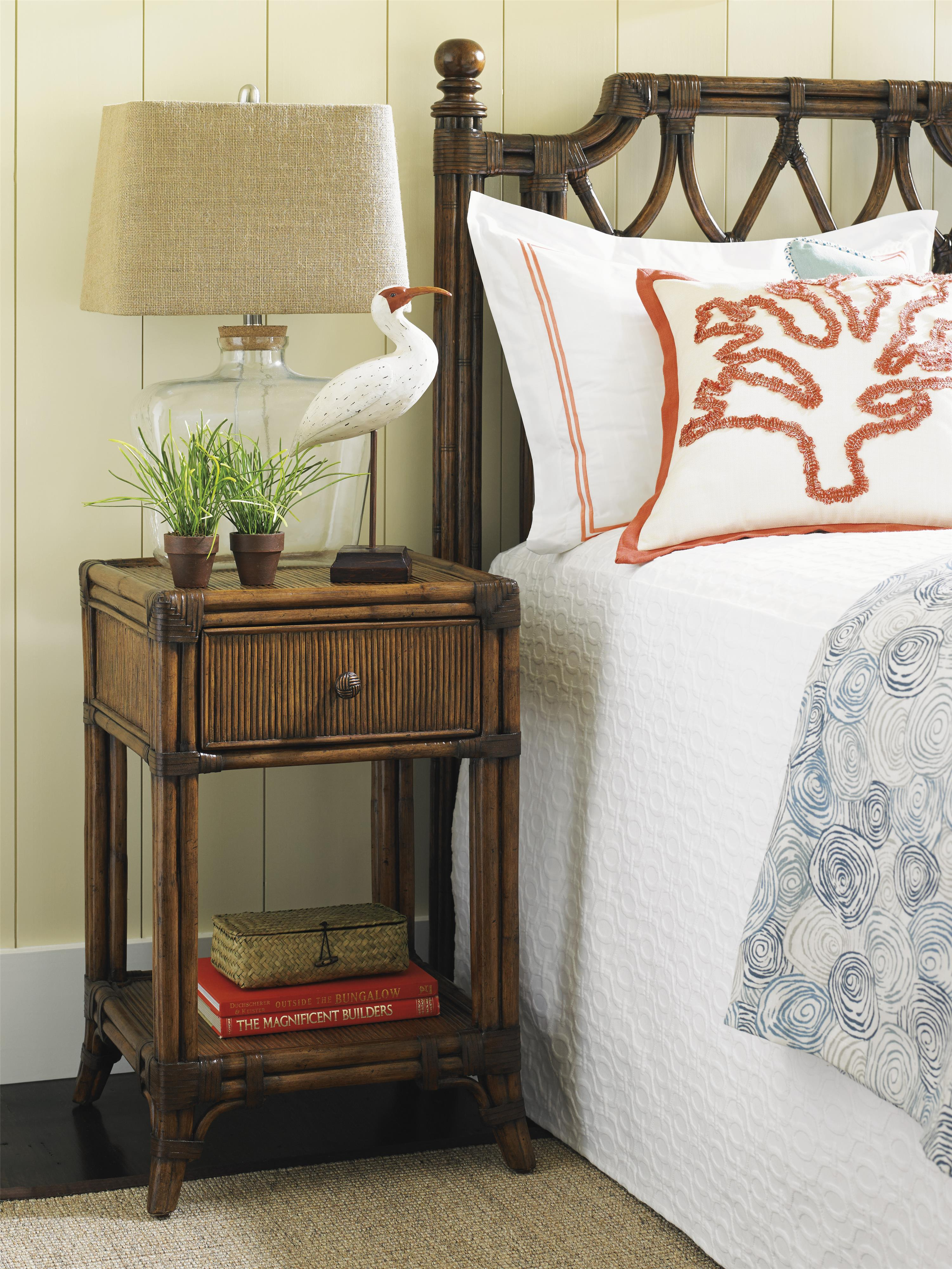Tommy Bahama Home Bali Hai 593 622 Del Sol Bedside Table With Open Display Shelf And Pencil
